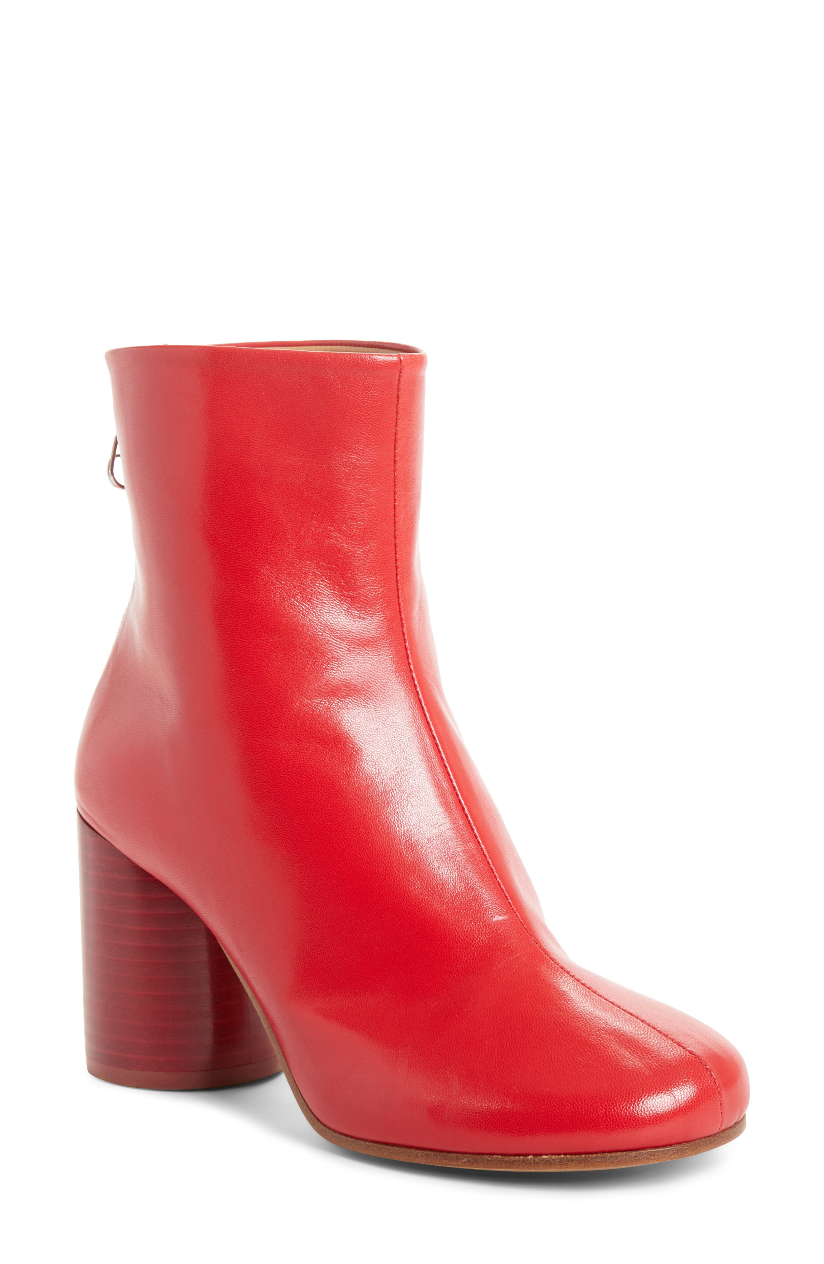 Round Heel Ankle Boot,                         Main,                         color, Red