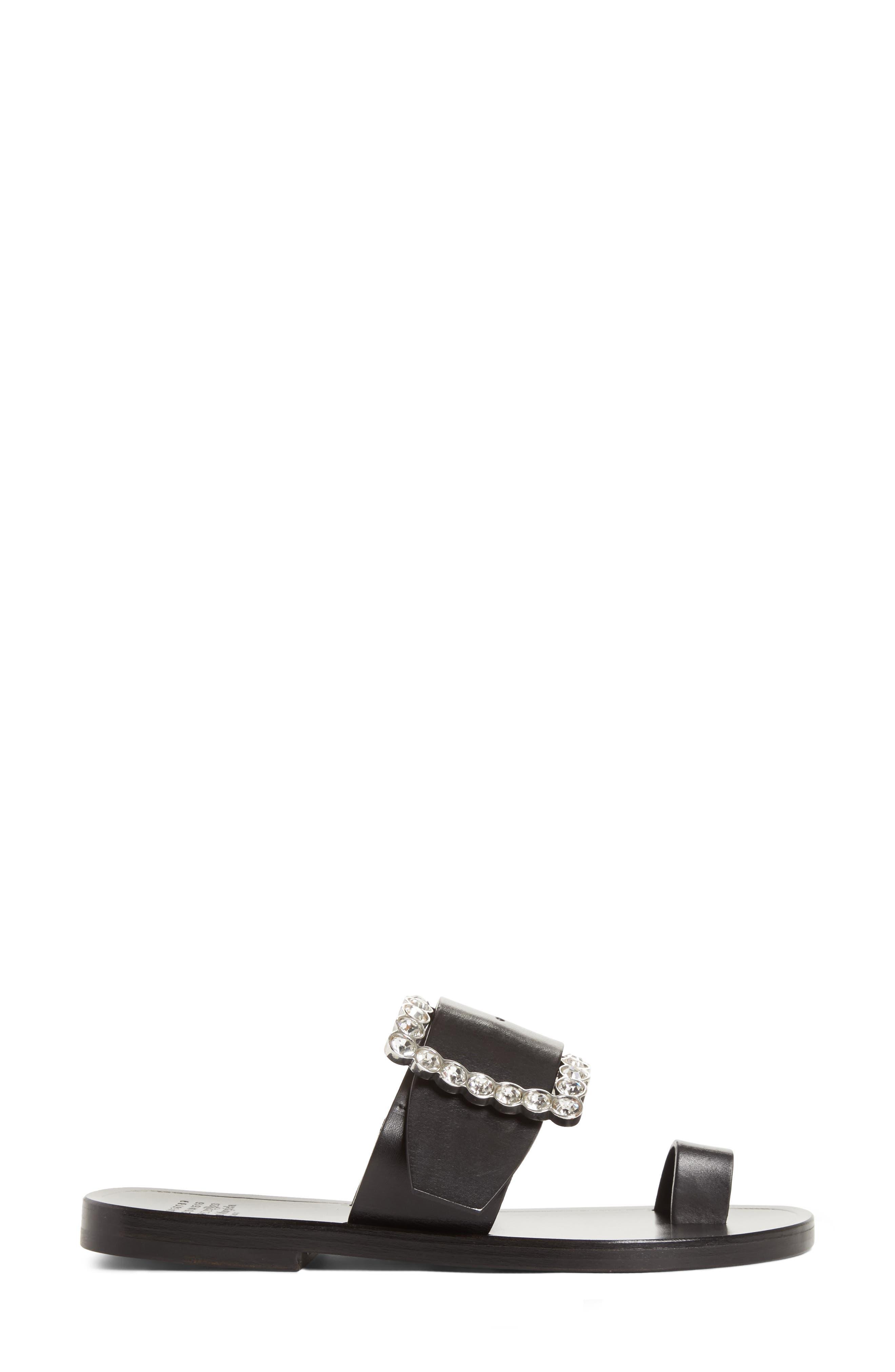 Jeweled Flat Sandal,                             Alternate thumbnail 3, color,                             Black