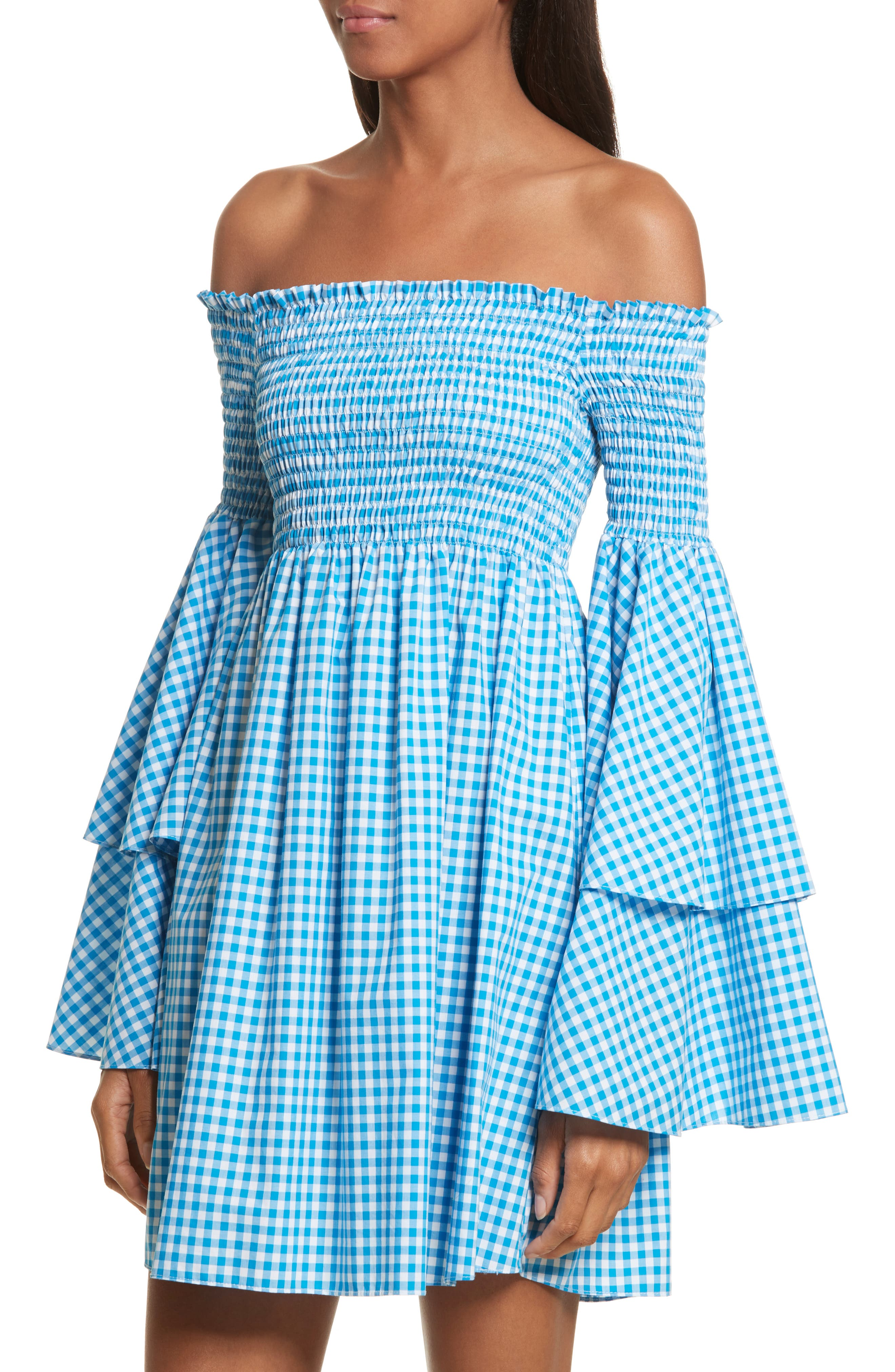 Appolonia Gingham Off the Shoulder Dress,                             Alternate thumbnail 4, color,                             Turquoise