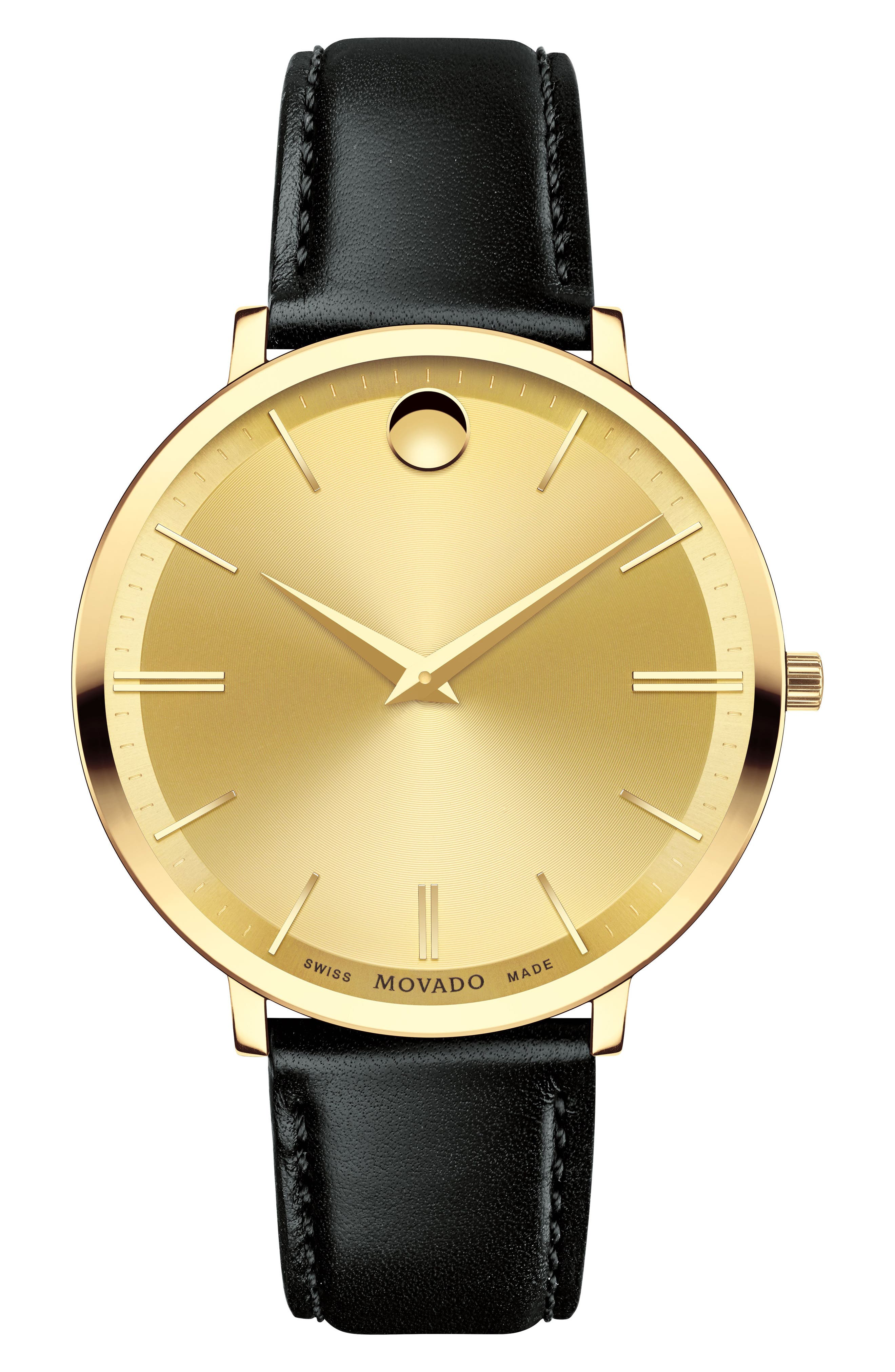 Ultra Slim Leather Strap Watch, 35mm,                         Main,                         color, Gold/Black/Gold