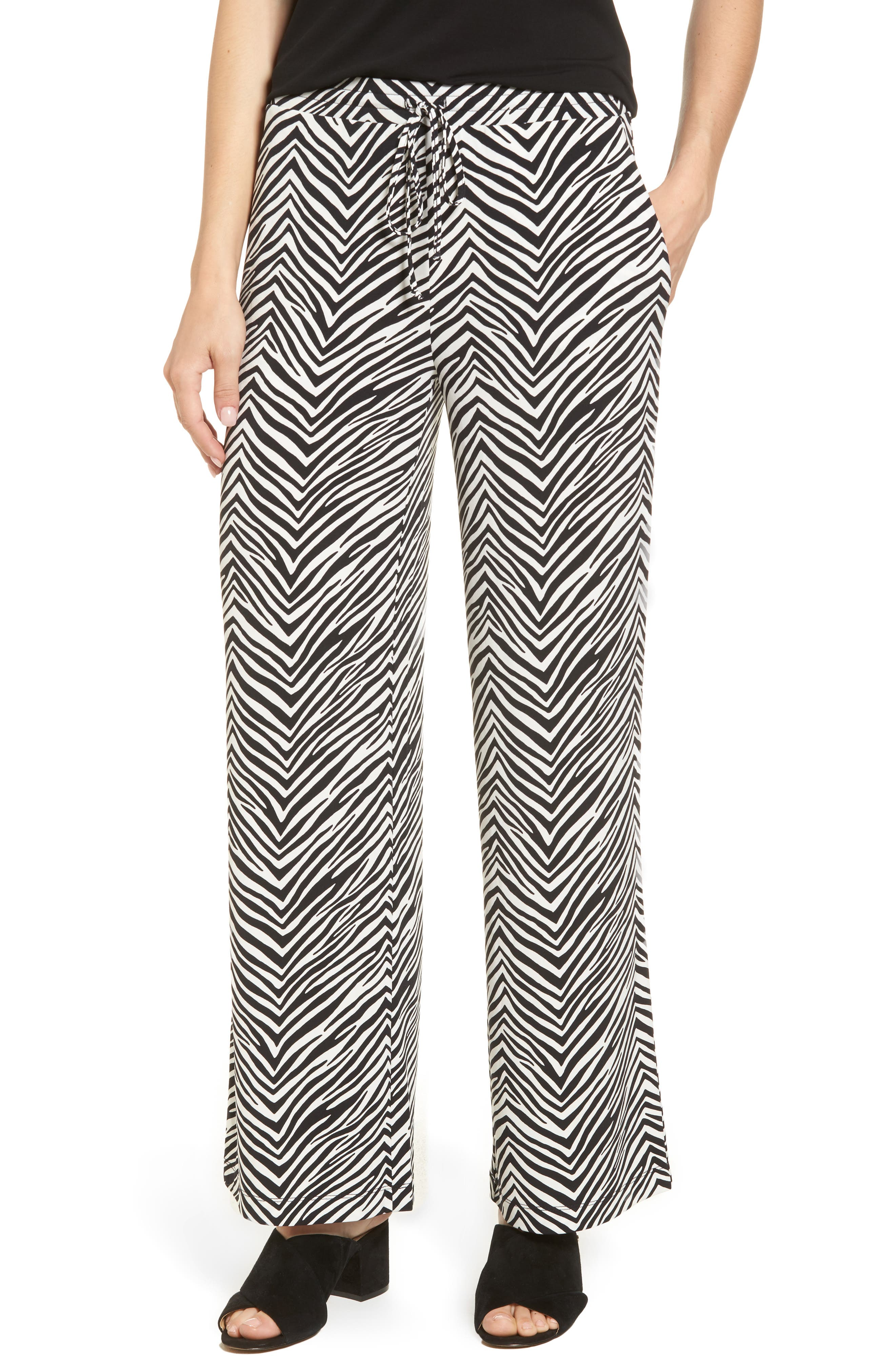Zebra Print Drawstring Waist Pants,                         Main,                         color, Rich Black