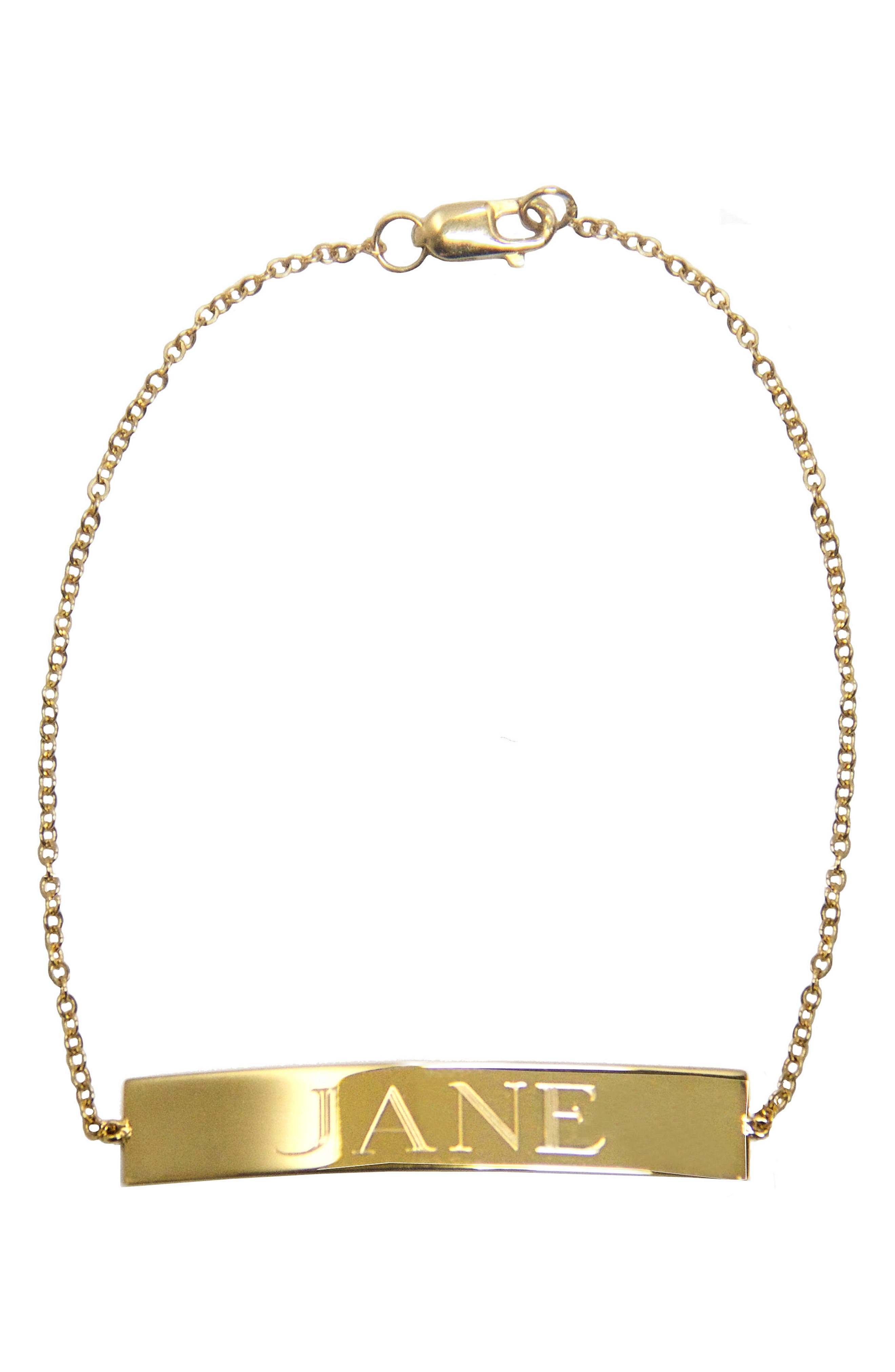 Jane Basch Personalized ID Bracelet,                             Main thumbnail 1, color,                             14K Yellow Gold
