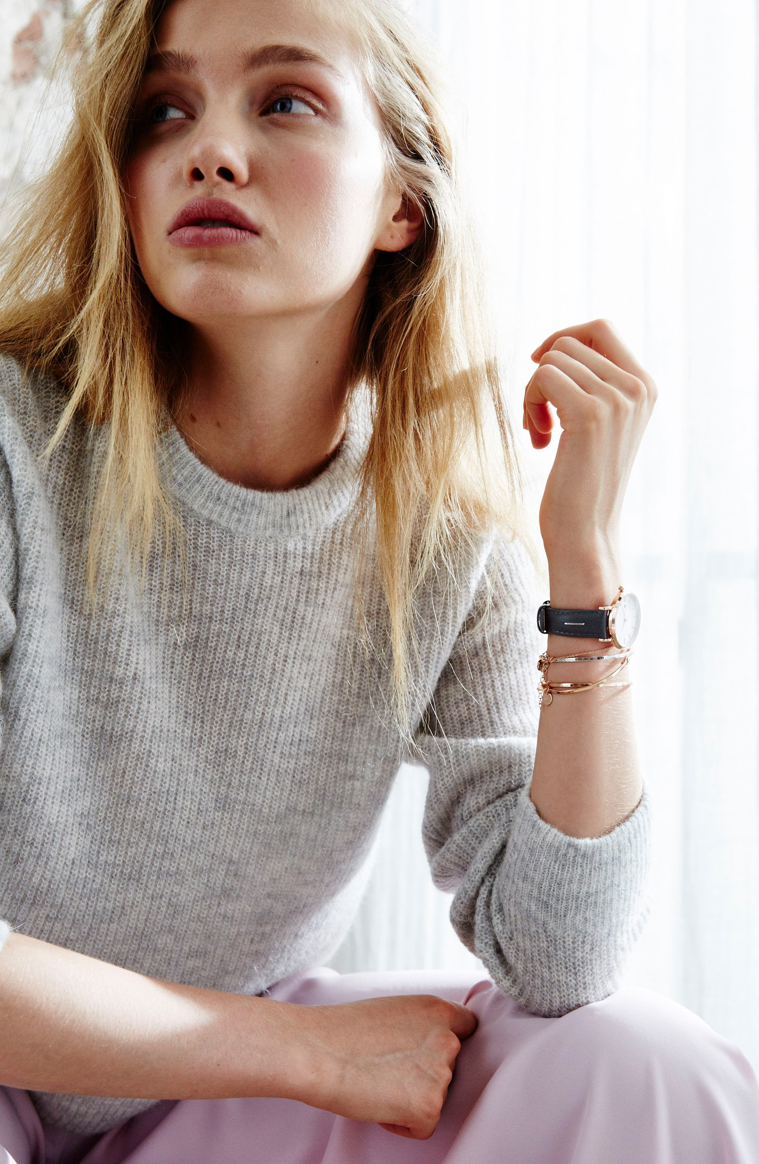 The September Issue Leather Strap Watch, 33mm,                             Alternate thumbnail 4, color,                             Grey/ Rose Gold