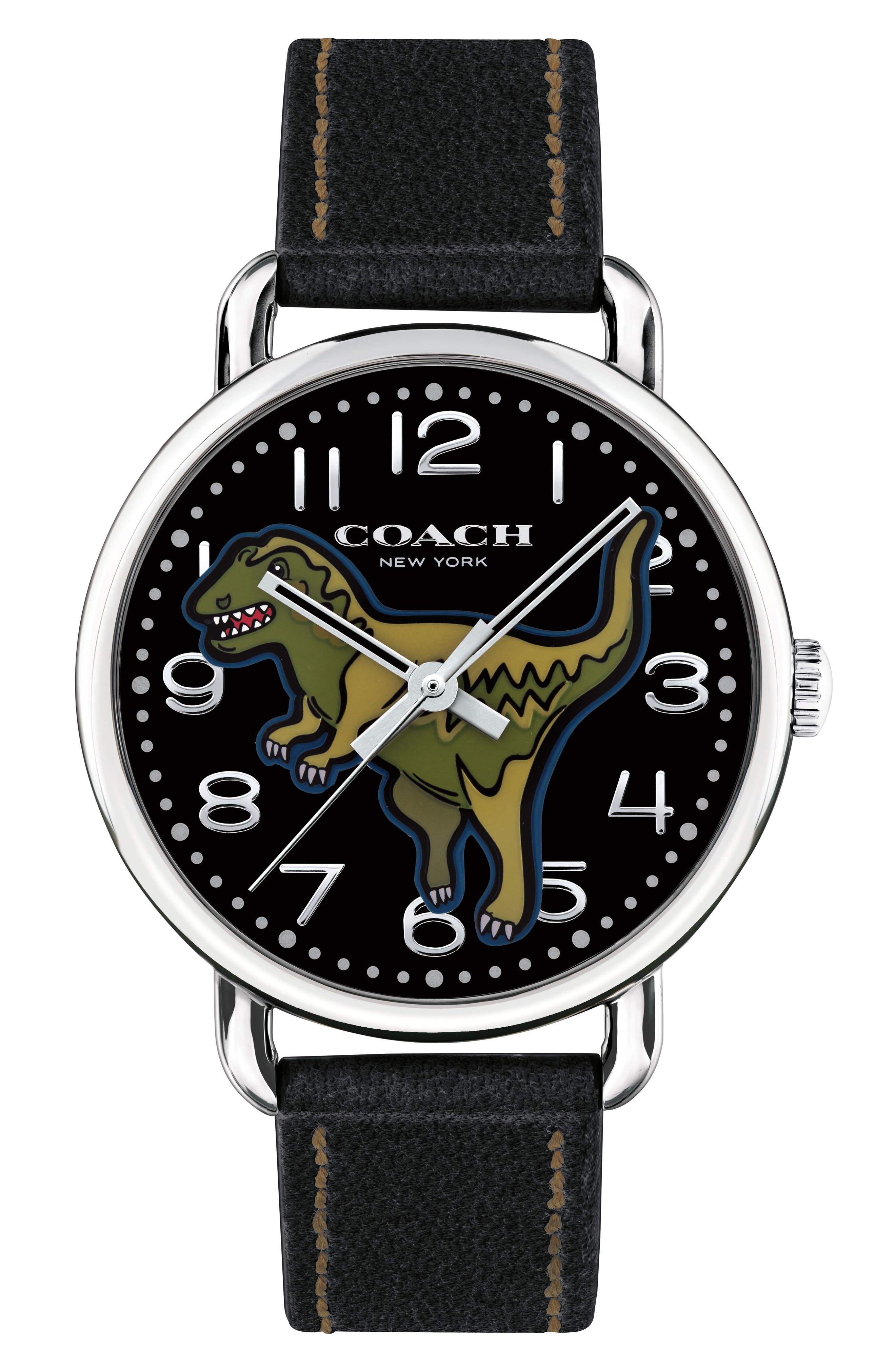 Delancey T-Rex Leather Strap Watch, 40mm,                         Main,                         color, Black/ Green/ Silver