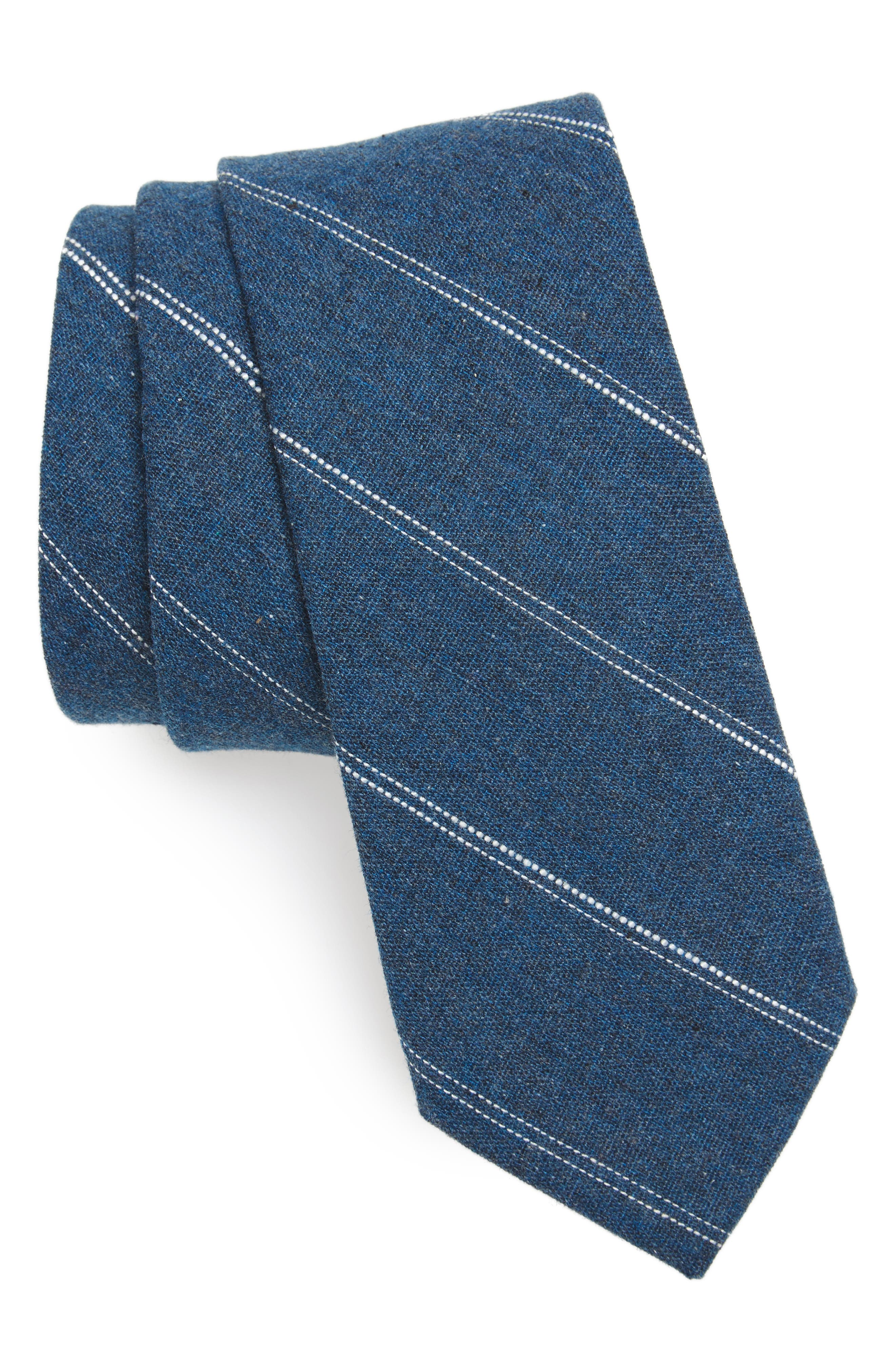 Palamino Stripe Cotton & Linen Skinny Tie,                             Main thumbnail 1, color,                             Teal