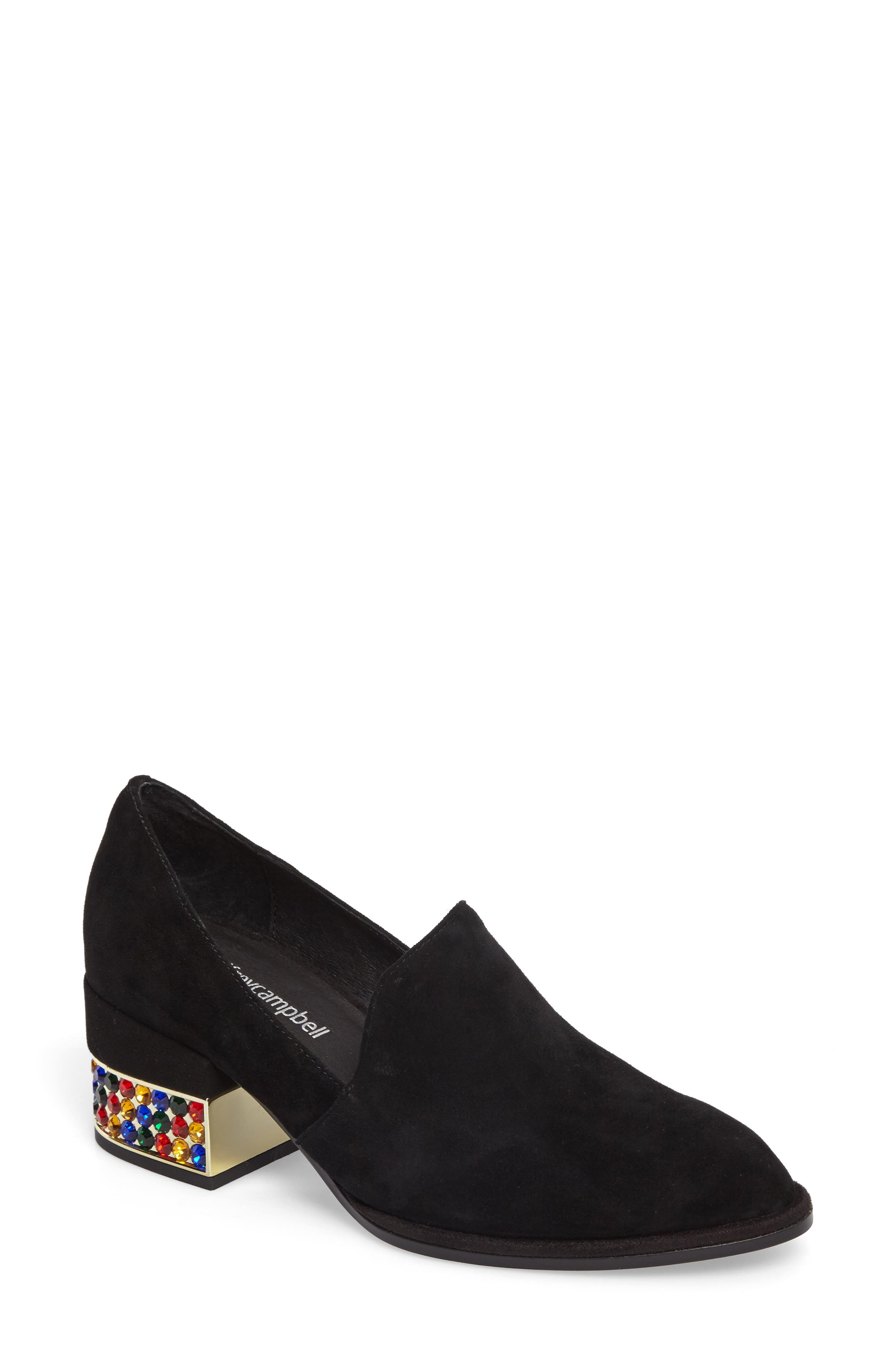 Serlin Jeweled Heel Loafer,                             Main thumbnail 1, color,                             Black Suede Bright Combo