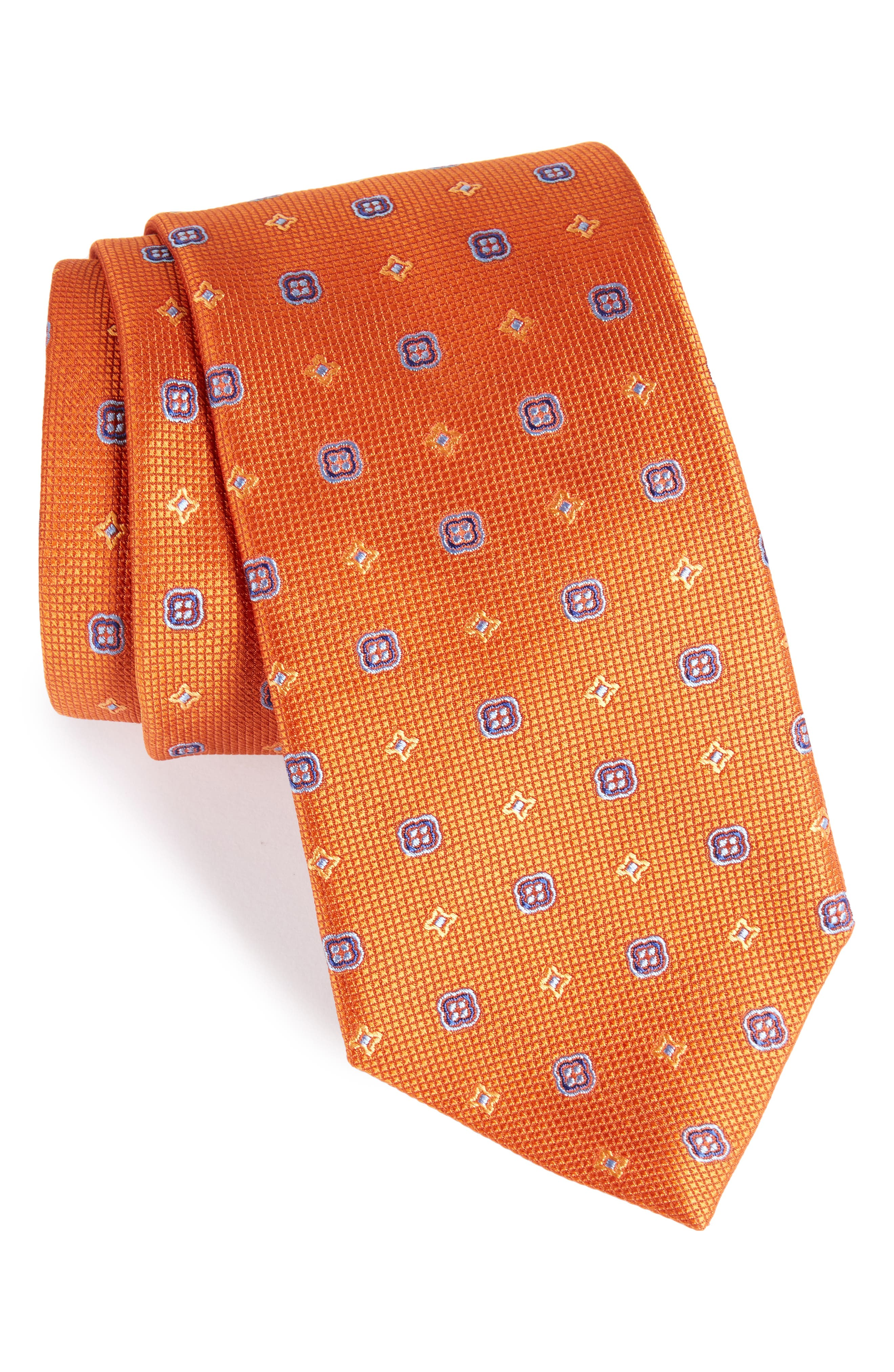 Neat Silk Tie,                             Main thumbnail 1, color,                             Pumpkin