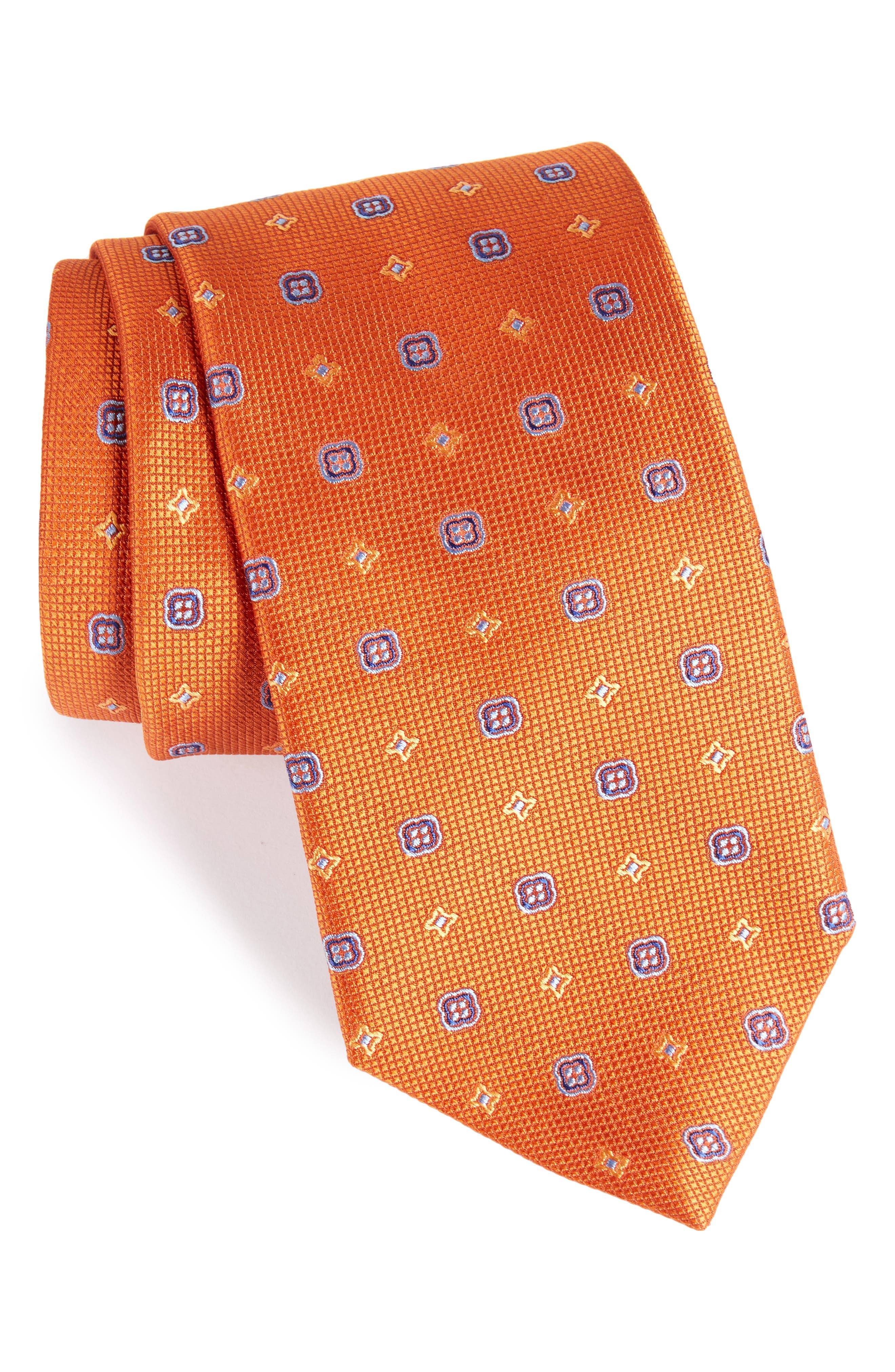 Neat Silk Tie,                         Main,                         color, Pumpkin