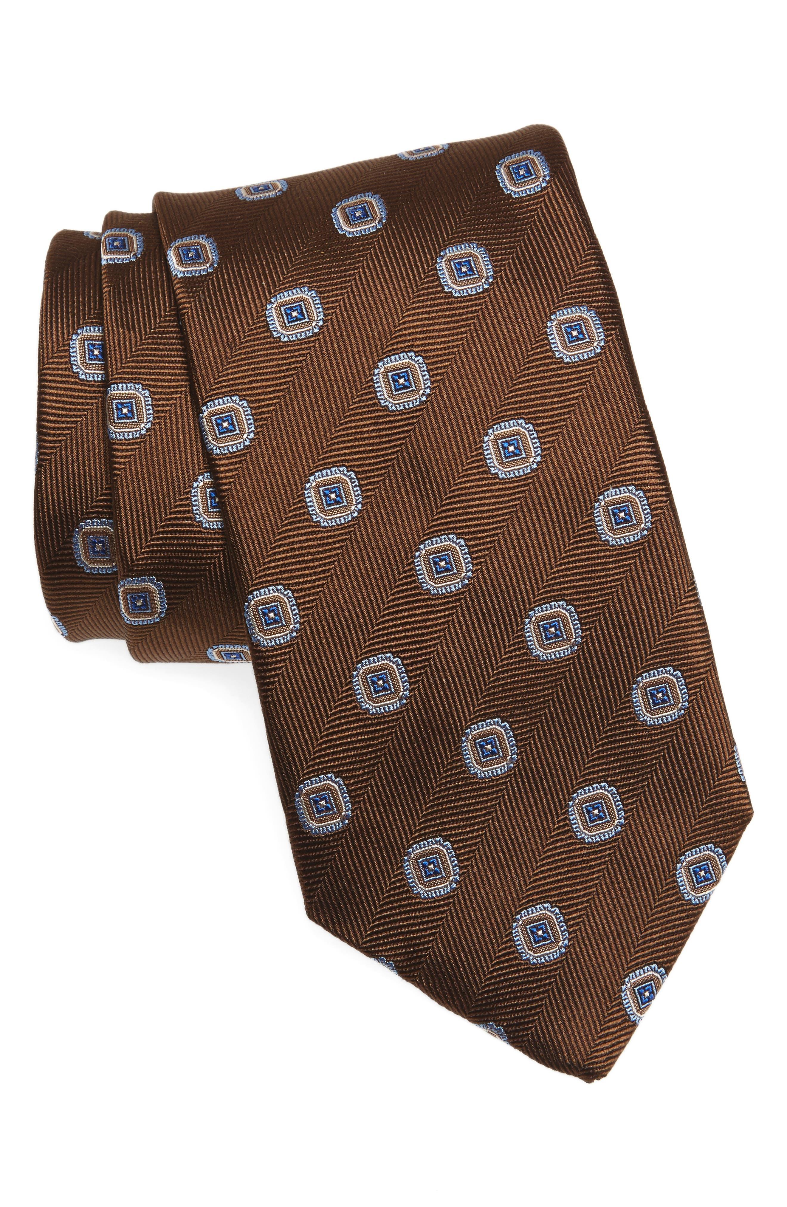 Medallion Silk Tie,                             Main thumbnail 1, color,                             Chocolate