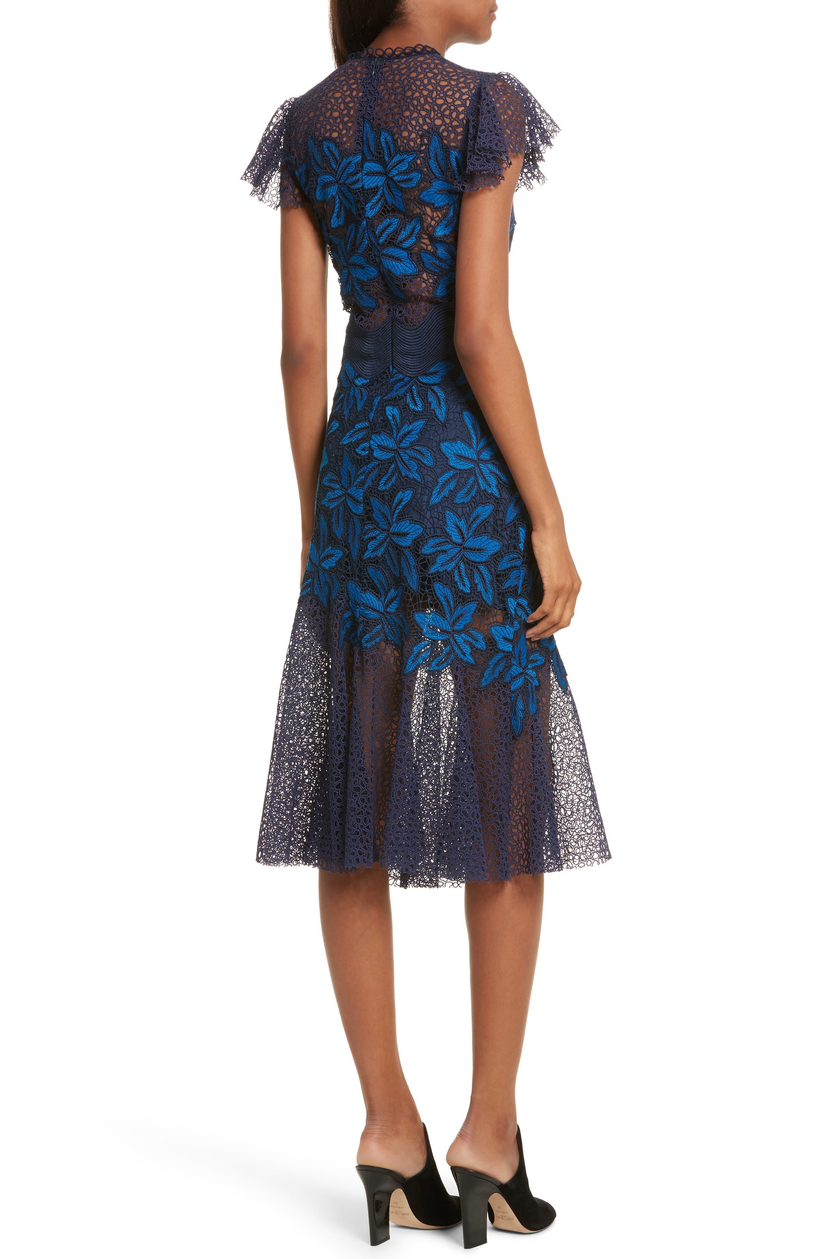 Mosaic Lace Midi Dress,                             Alternate thumbnail 2, color,                             Blue Multi