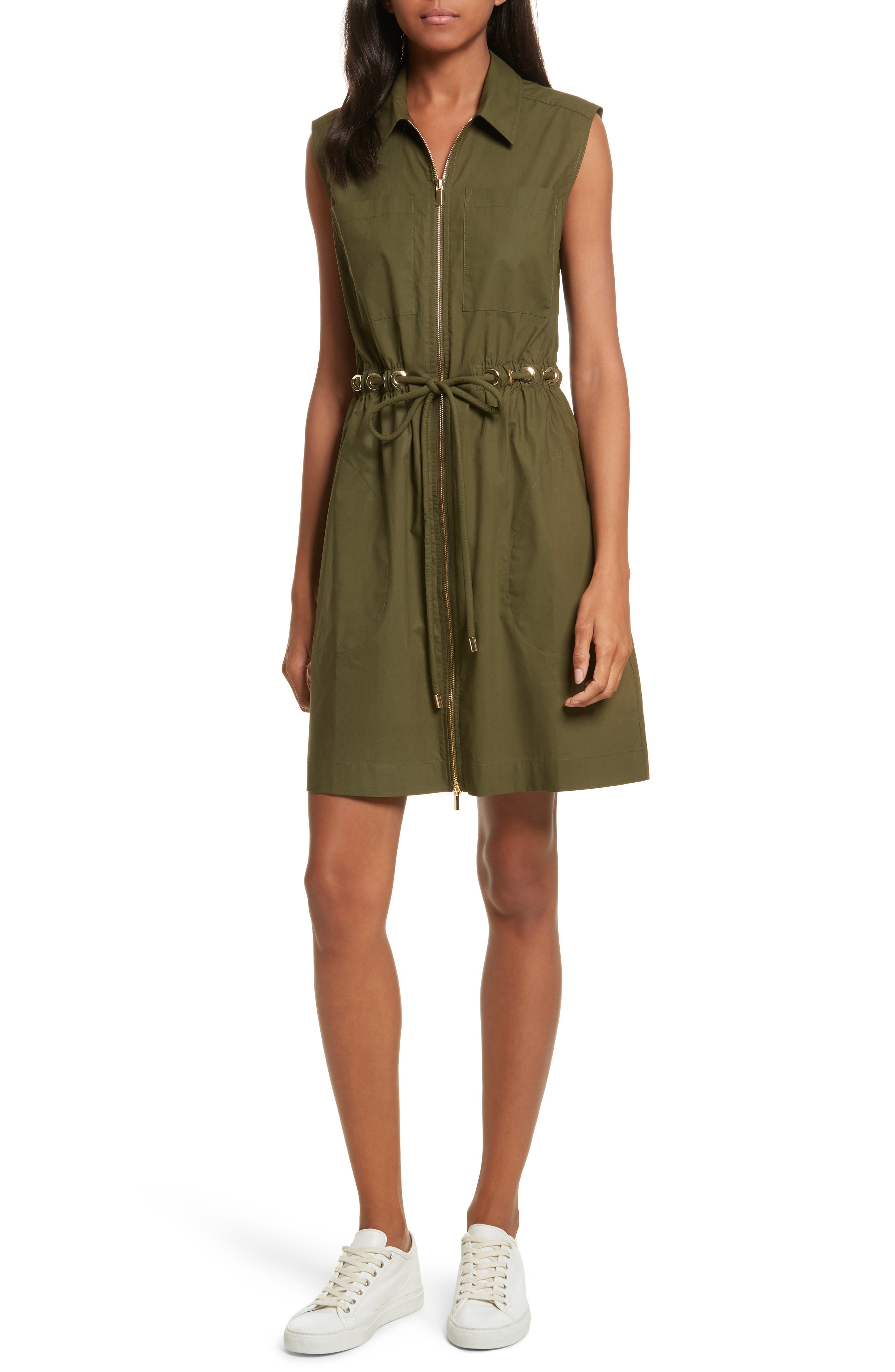 Zip Front Tunic Dress,                             Main thumbnail 1, color,                             Army Green