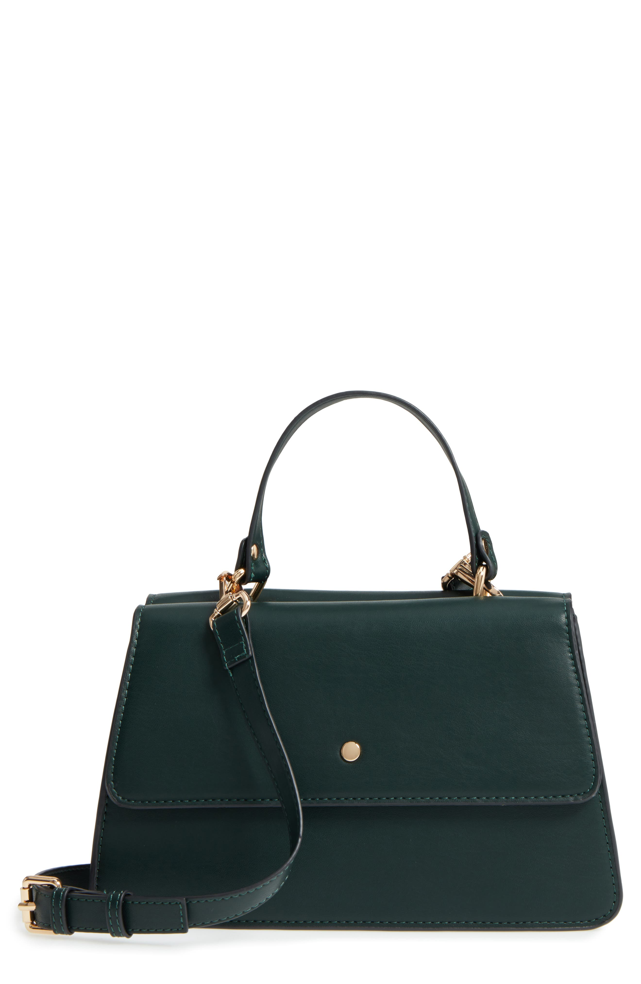Faux Leather Satchel,                             Main thumbnail 1, color,                             Woodland Green