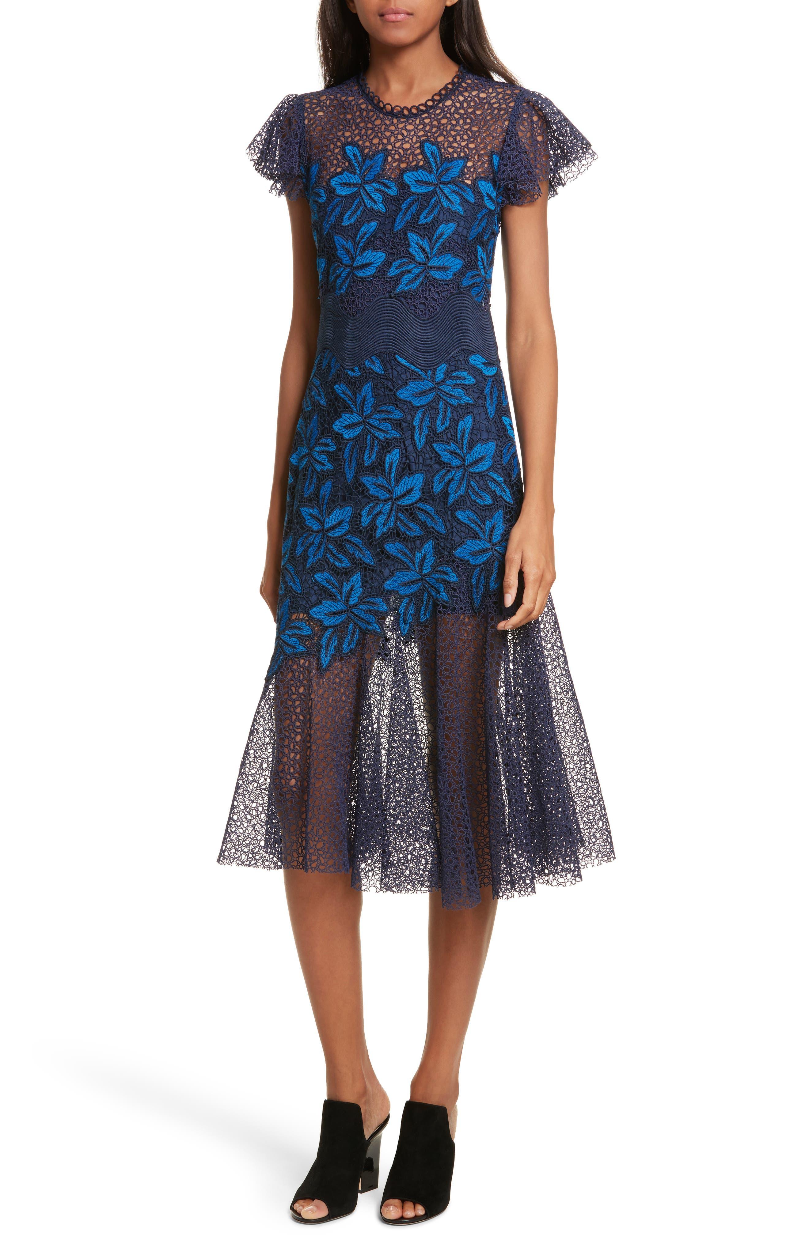 Mosaic Lace Midi Dress,                             Main thumbnail 1, color,                             Blue Multi