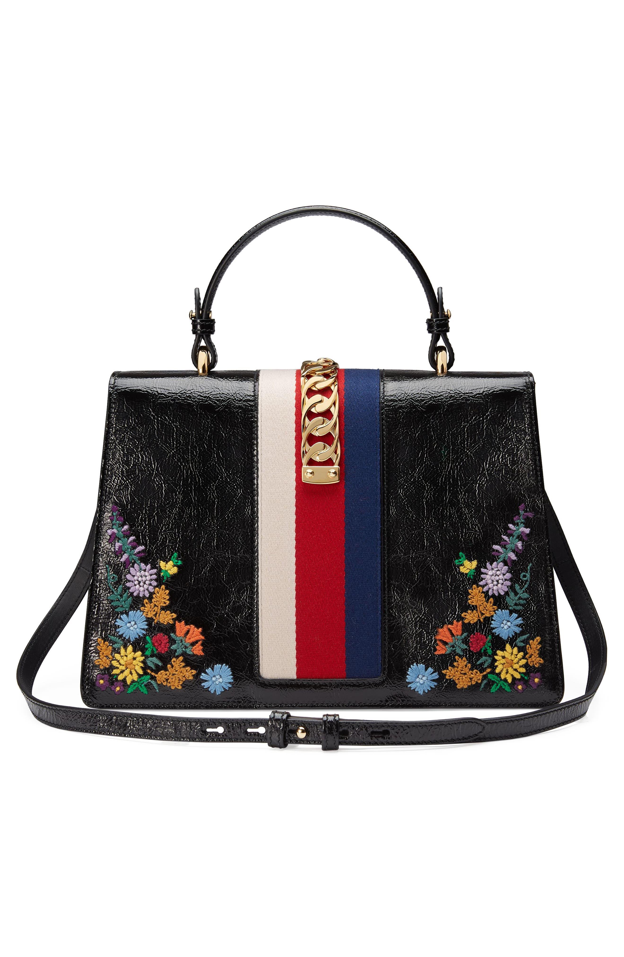 Medium Sylvie Floral Embroidered Top Handle Leather Shoulder Bag,                             Alternate thumbnail 2, color,                             Nero Multi