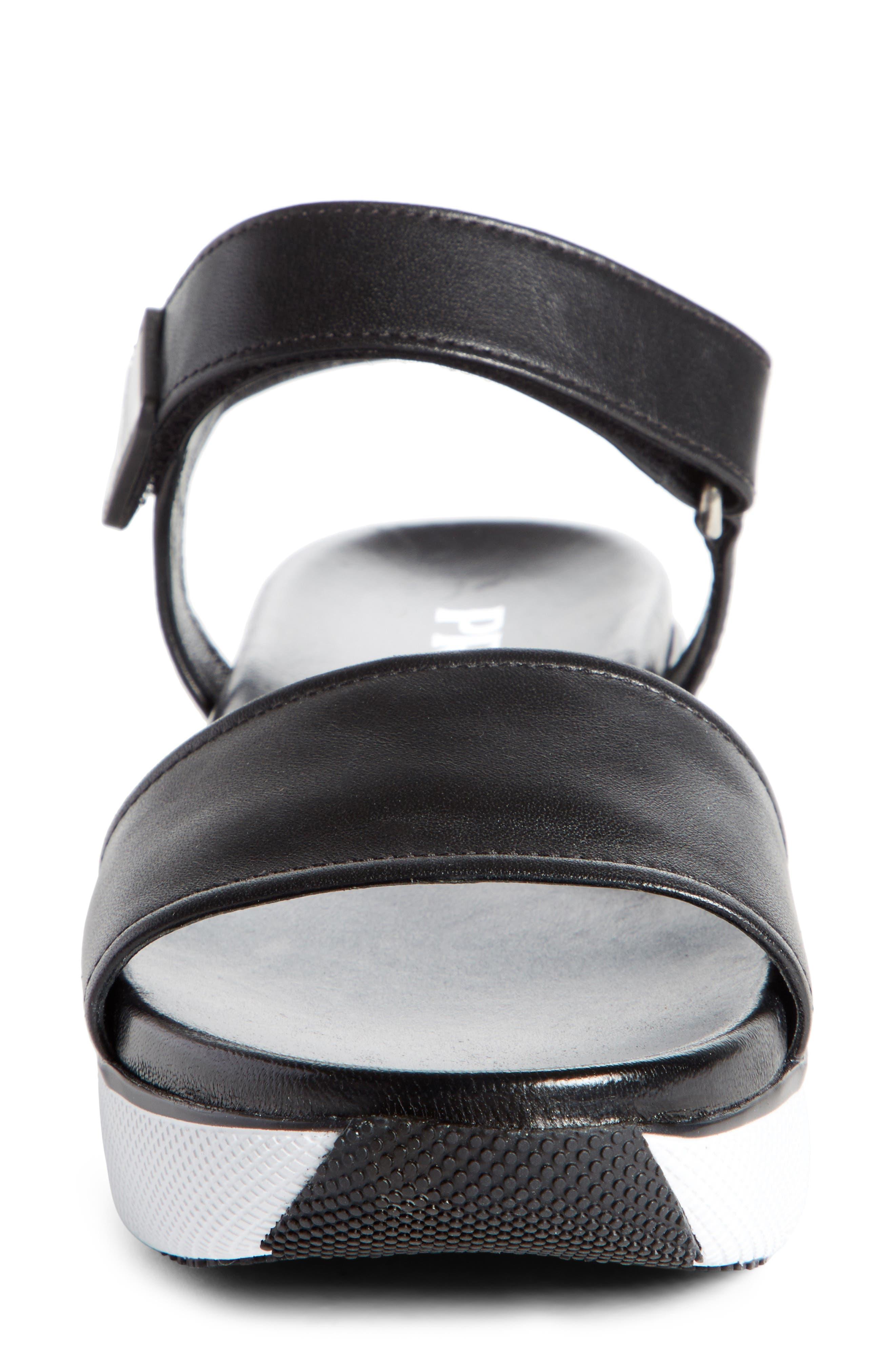 Platform Sandal,                             Alternate thumbnail 4, color,                             Black/ White