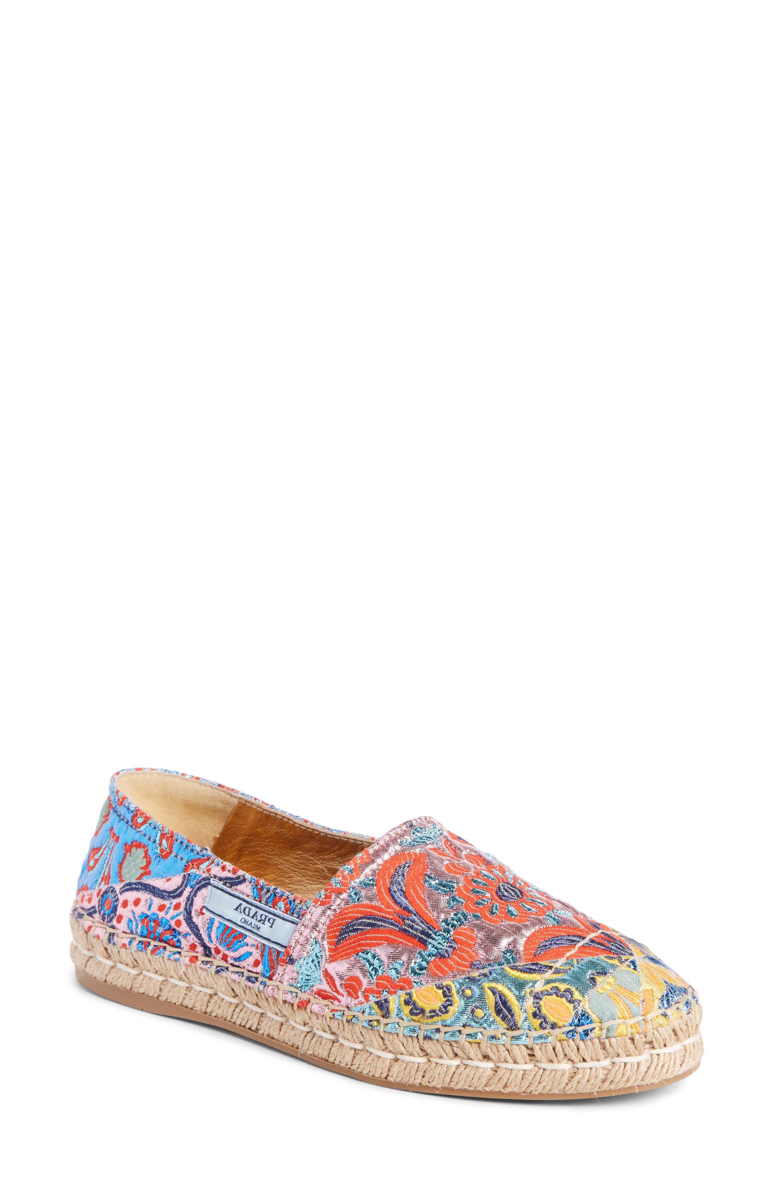 Floral Embroidered Espadrille Flat,                         Main,                         color, Pink Multi