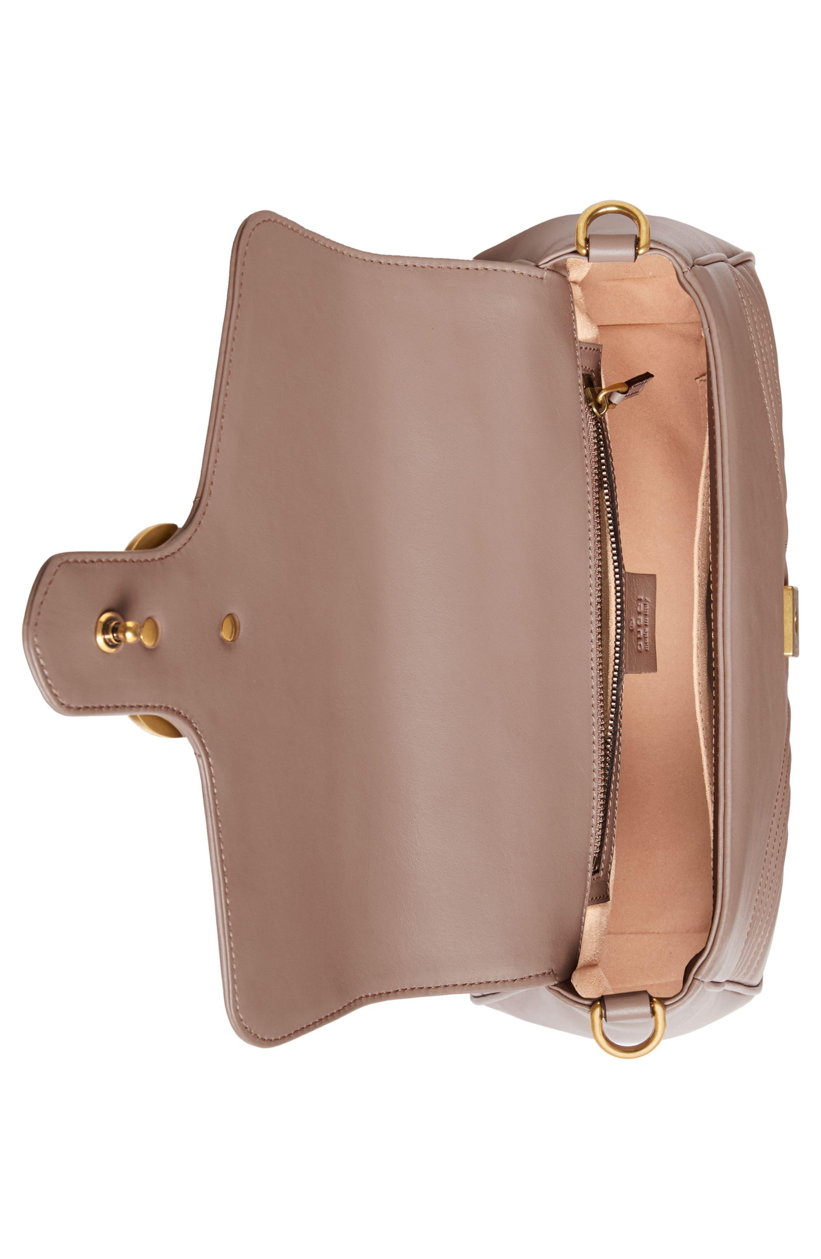 Small GG Marmont 2.0 Matelassé Leather Top Handle Bag,                             Alternate thumbnail 4, color,                             Porcelain Rose