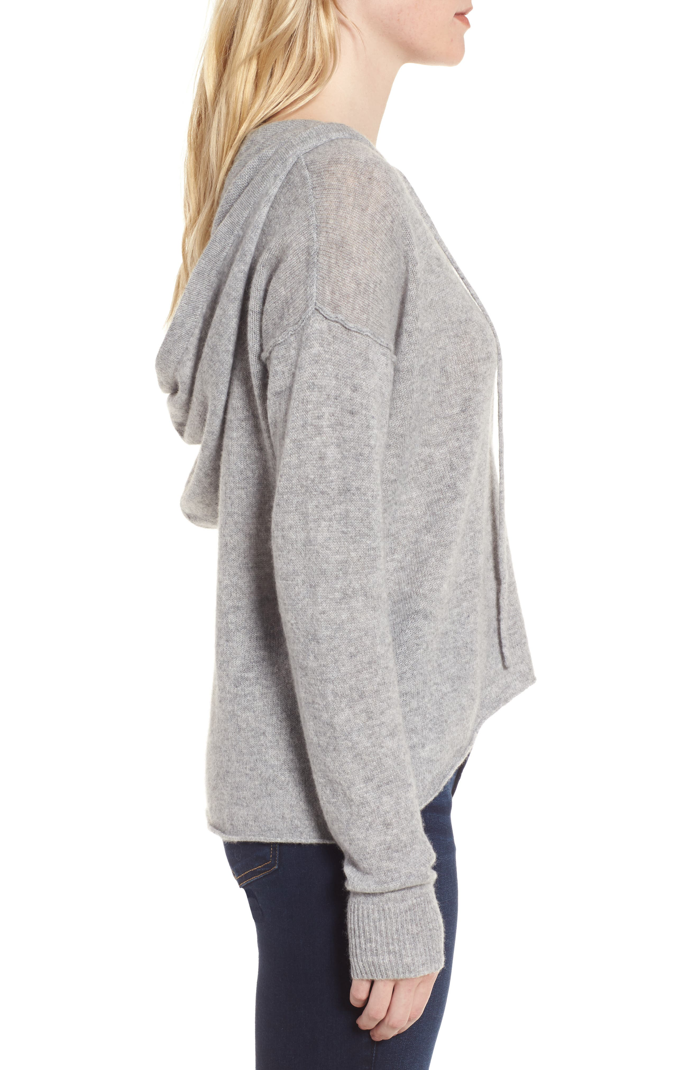 Dakota Cashmere Hooded Sweater,                             Alternate thumbnail 3, color,                             Heather Grey