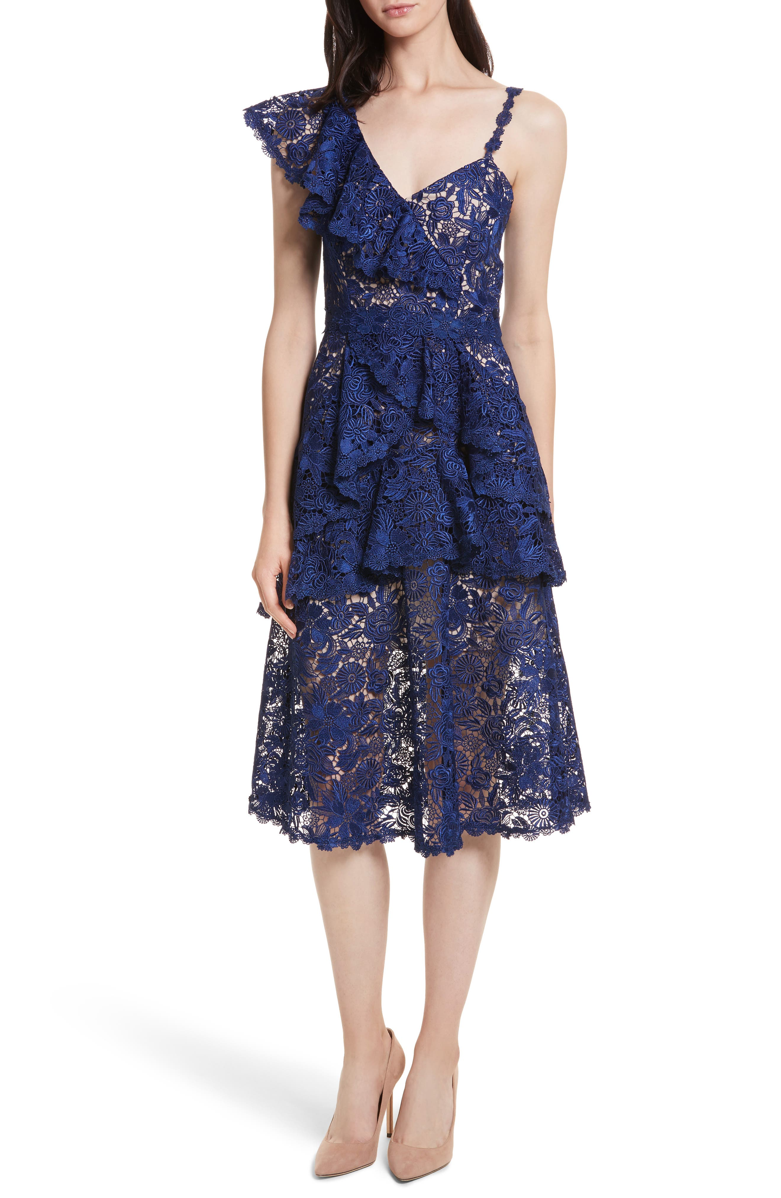 Florrie Ruffled Lace Midi Dress,                             Main thumbnail 1, color,                             Indigo/ Nude