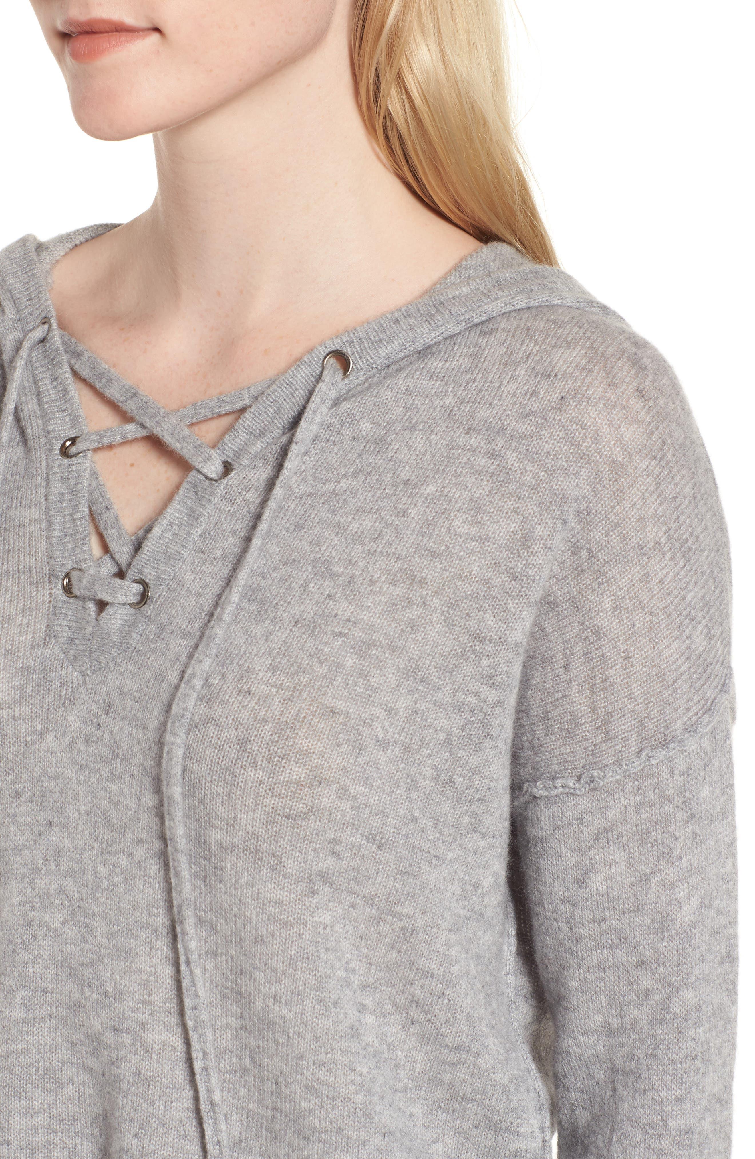 Dakota Cashmere Hooded Sweater,                             Alternate thumbnail 4, color,                             Heather Grey
