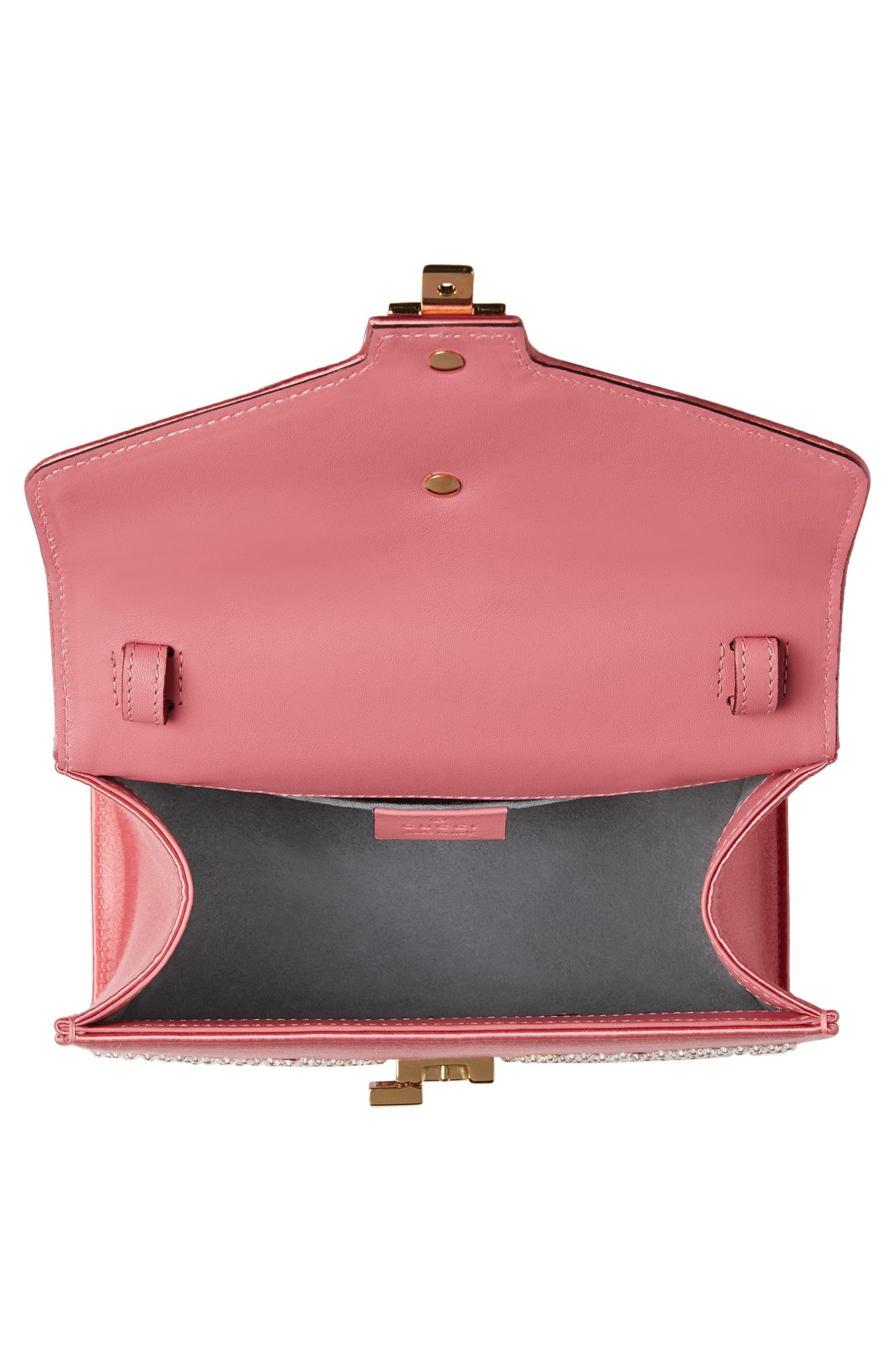 Mini Sylvie Crystal Burst Top Handle Leather Shoulder Bag,                             Alternate thumbnail 3, color,                             Peony/ Crystal/ Mystic White