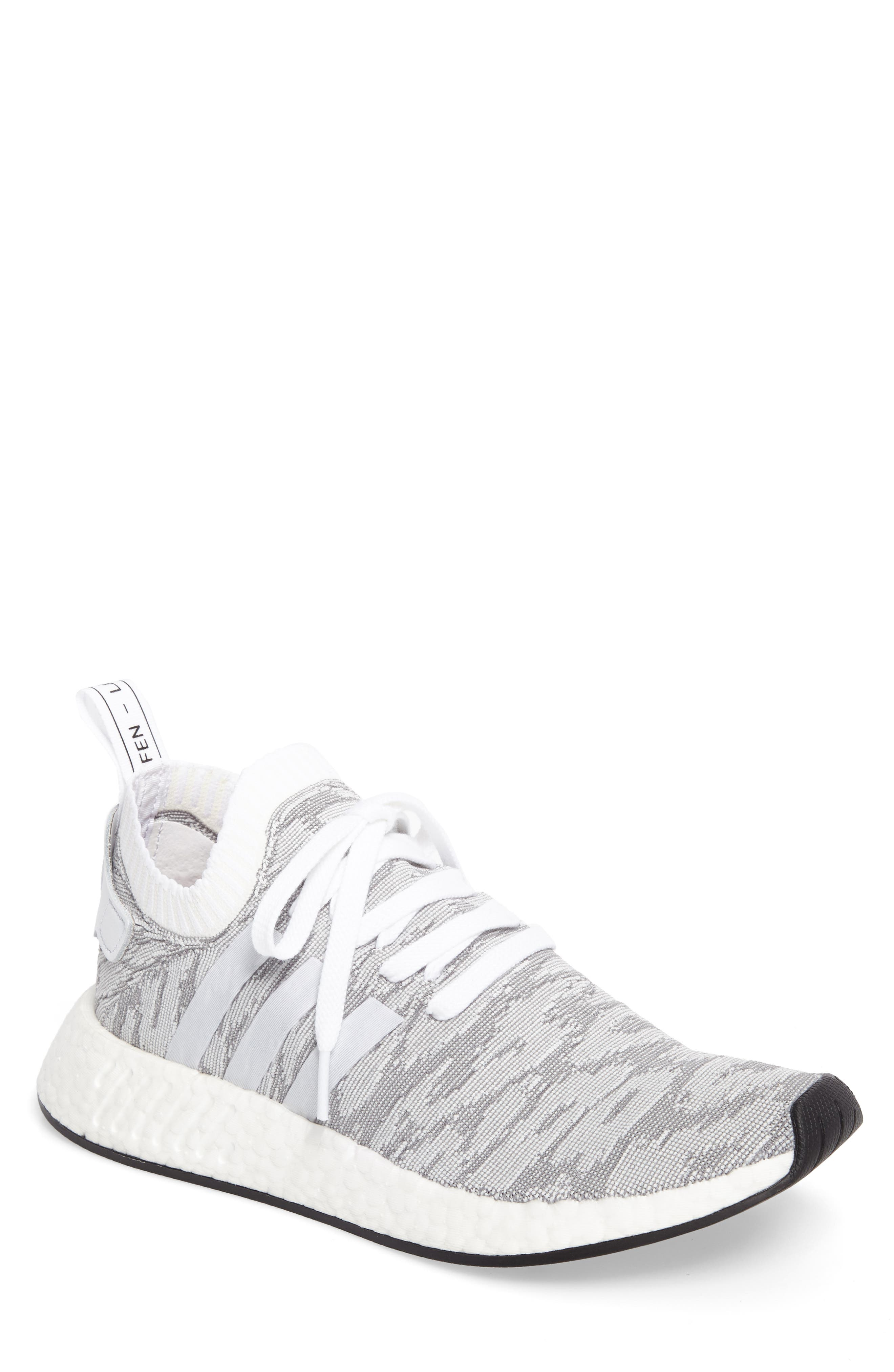 NMD R2 Primeknit Running Shoe,                         Main,                         color, White/ White/ Core Black