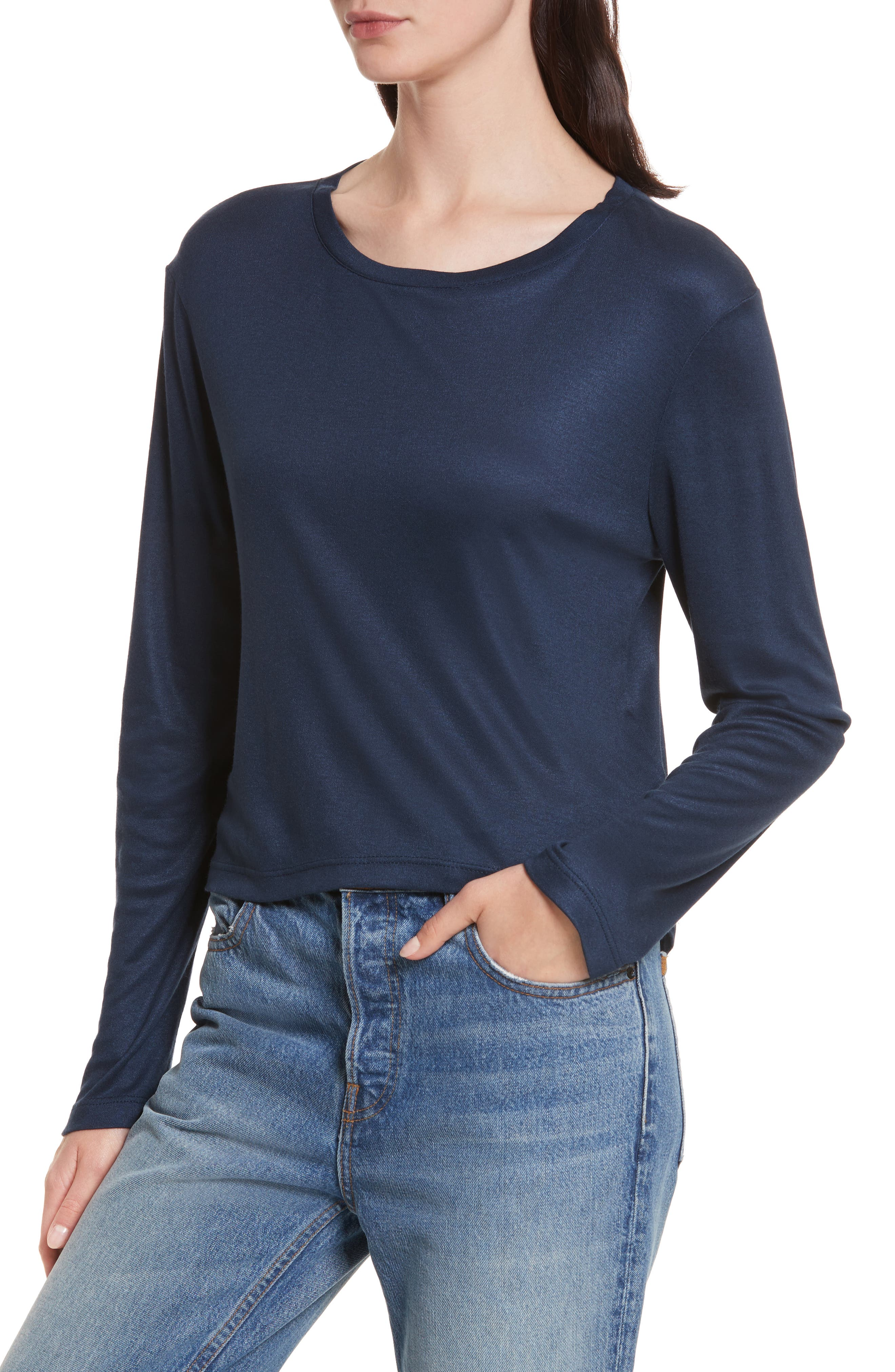 Willow Shine Jersey Open Back Top,                             Alternate thumbnail 3, color,                             Dark Navy