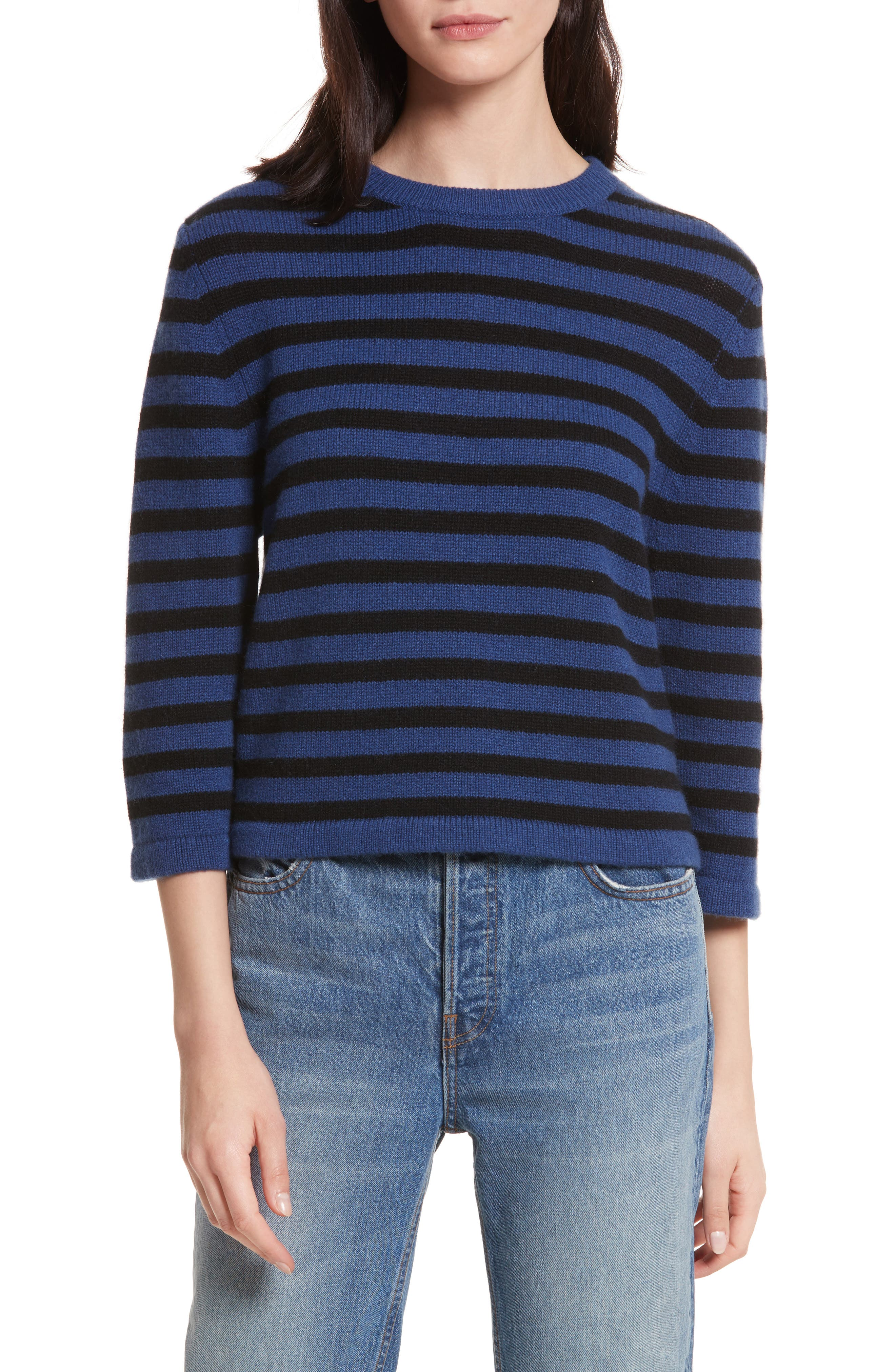 Crop Cashmere Sweater,                         Main,                         color, Blue W/ Black Stripe