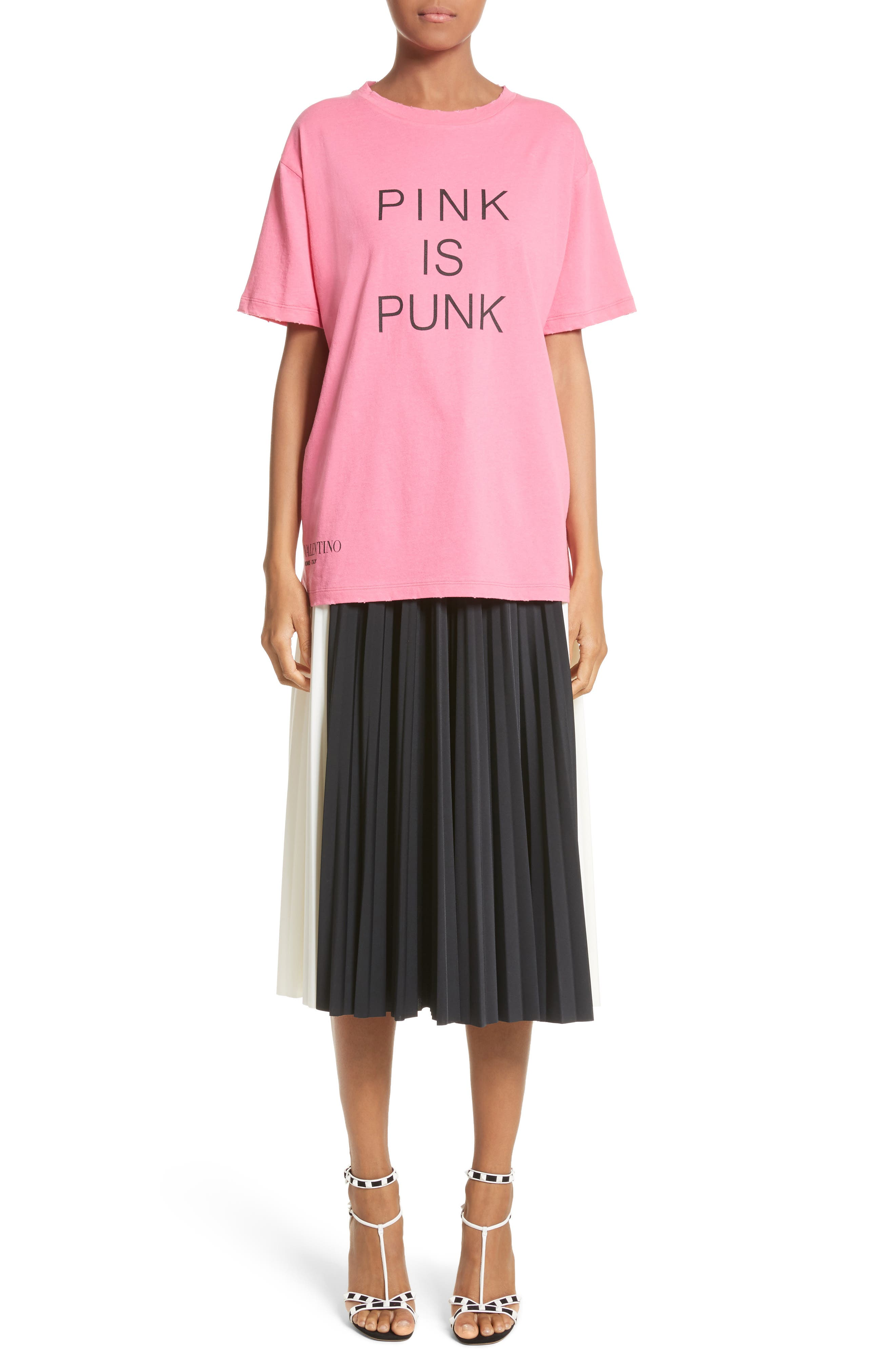Pink Is Punk Cotton Tee,                             Alternate thumbnail 7, color,                             Pink