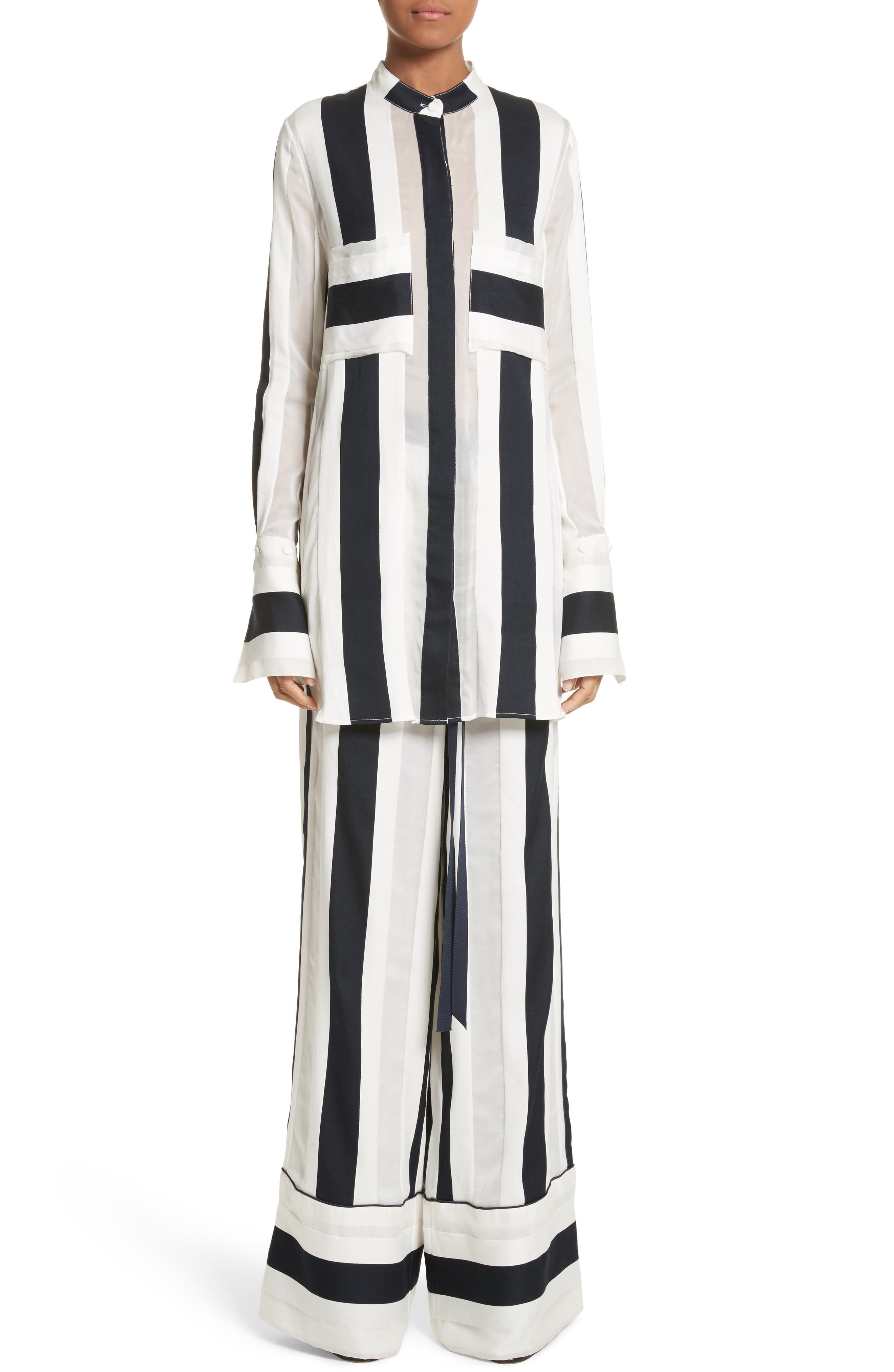 Cotton & Silk Stripe Jacquard Blouse,                             Alternate thumbnail 7, color,                             Black/ White