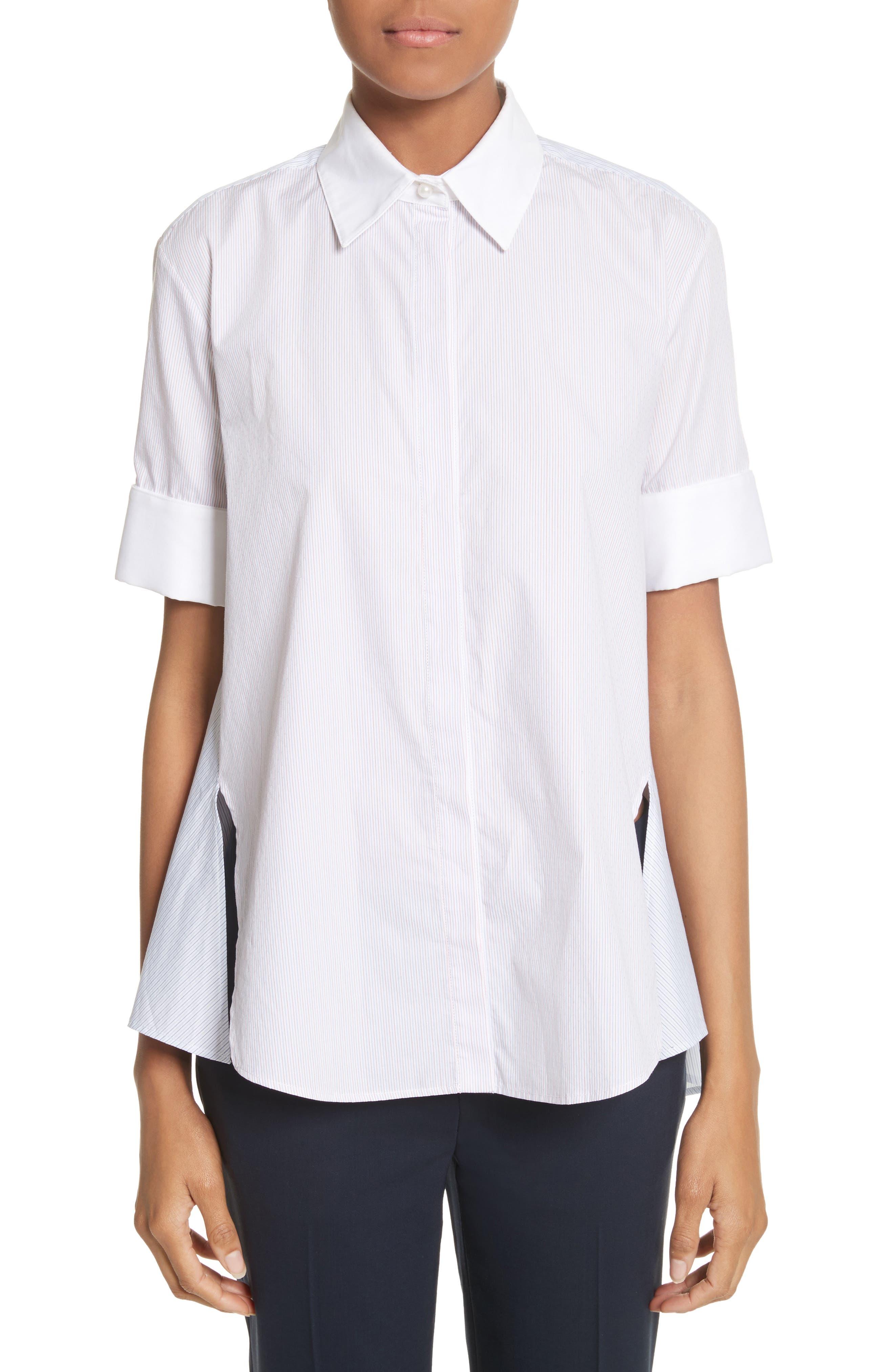 Stripe Cotton Trapeze Shirt,                             Main thumbnail 1, color,                             Red/ Blue