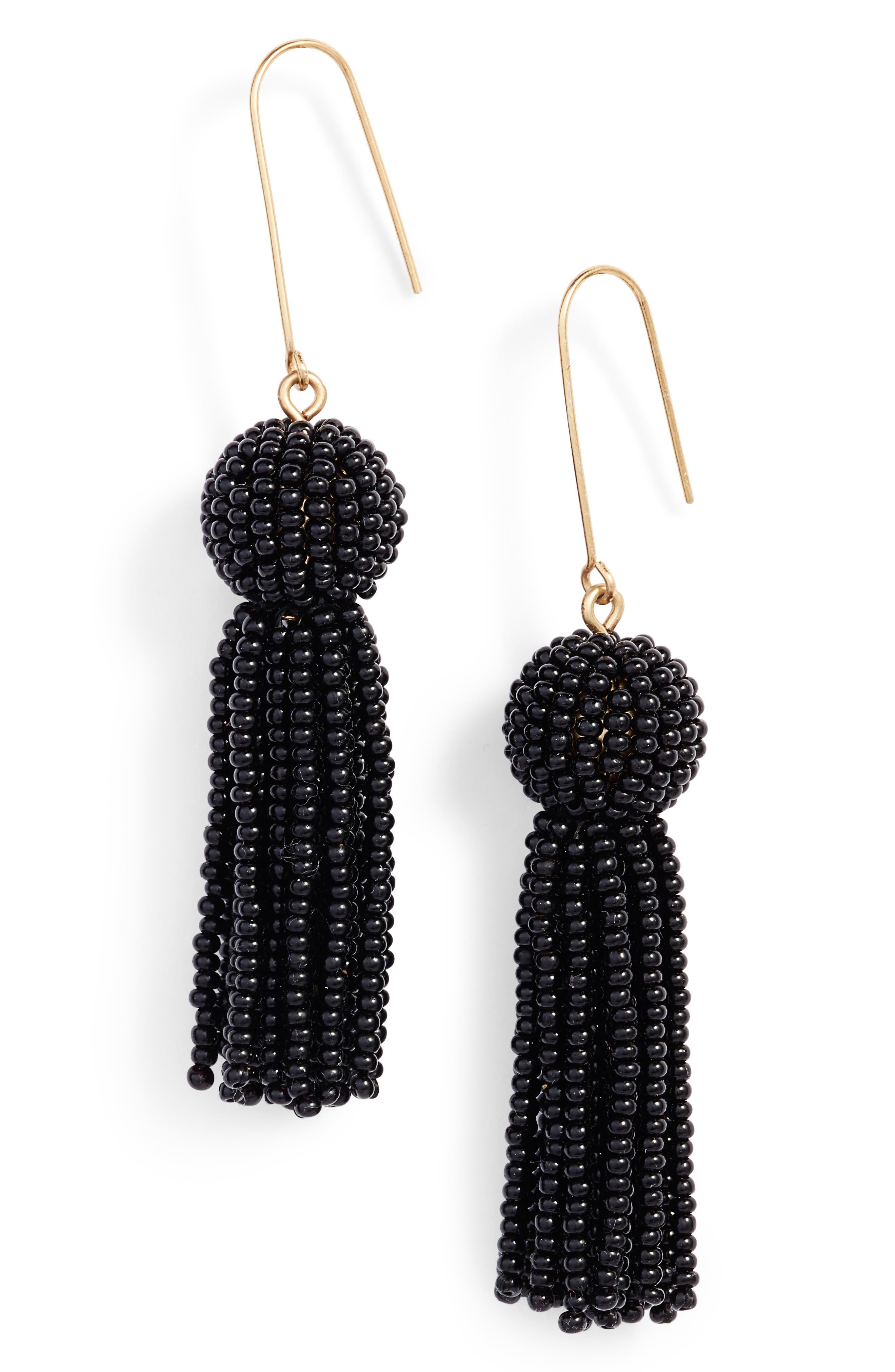 Bead Tassel Drop Earrings,                         Main,                         color, True Black