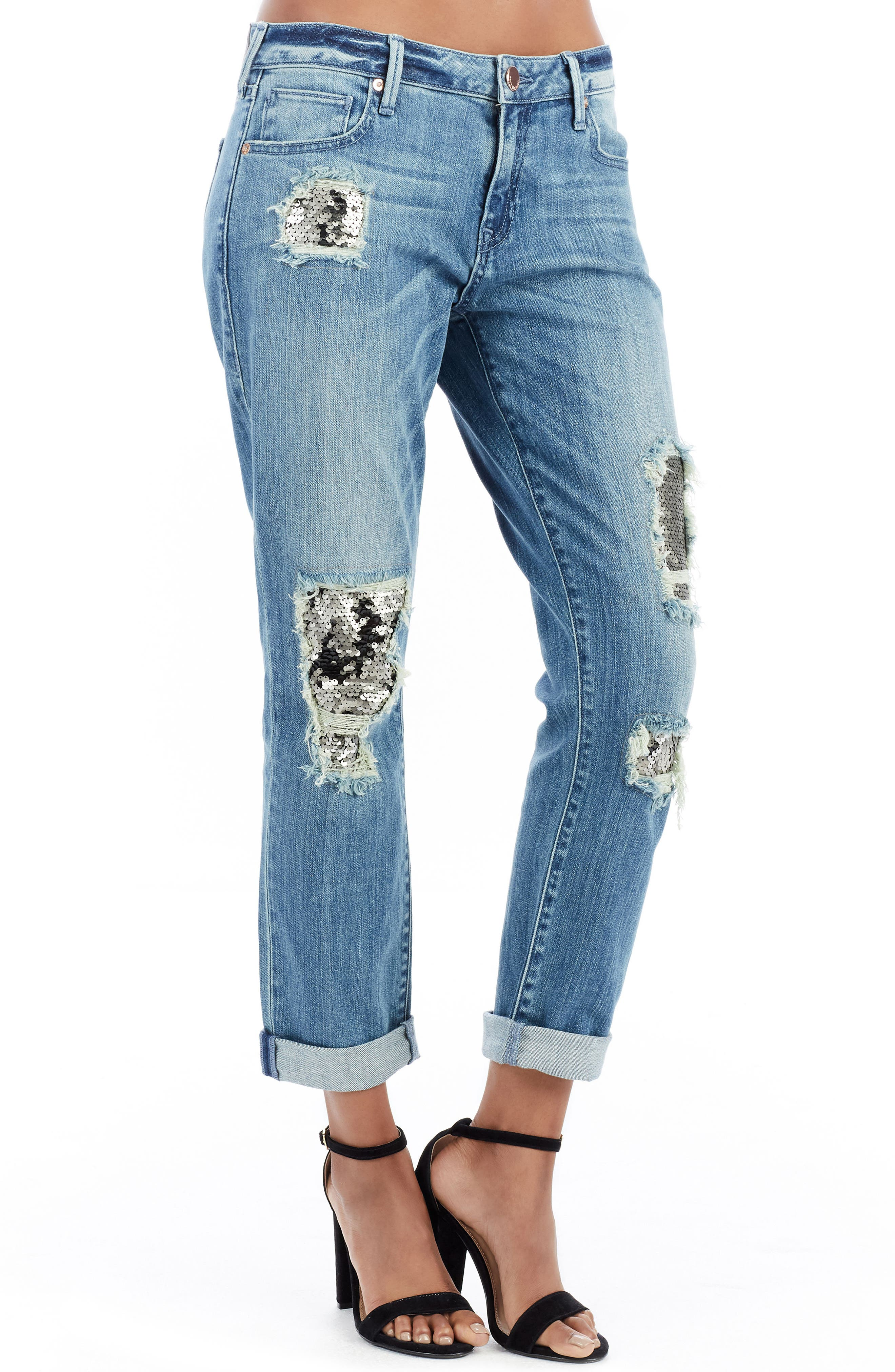 Cameron Slim Boyfriend Jeans,                             Main thumbnail 1, color,                             Dark Rebel Shadow