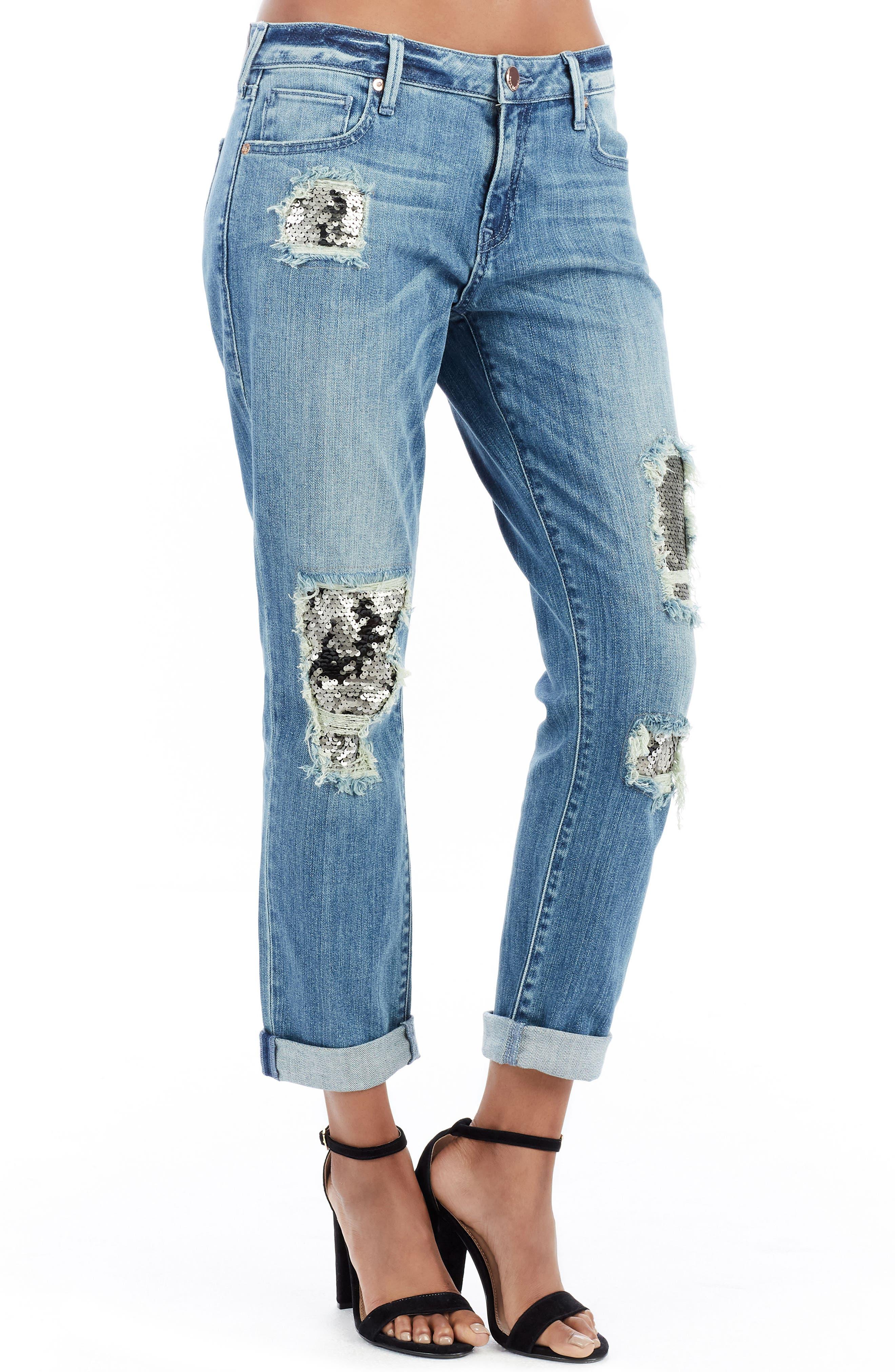 True Religion Brand Jeans Cameron Slim Boyfriend Jeans (Dark Rebel Status)