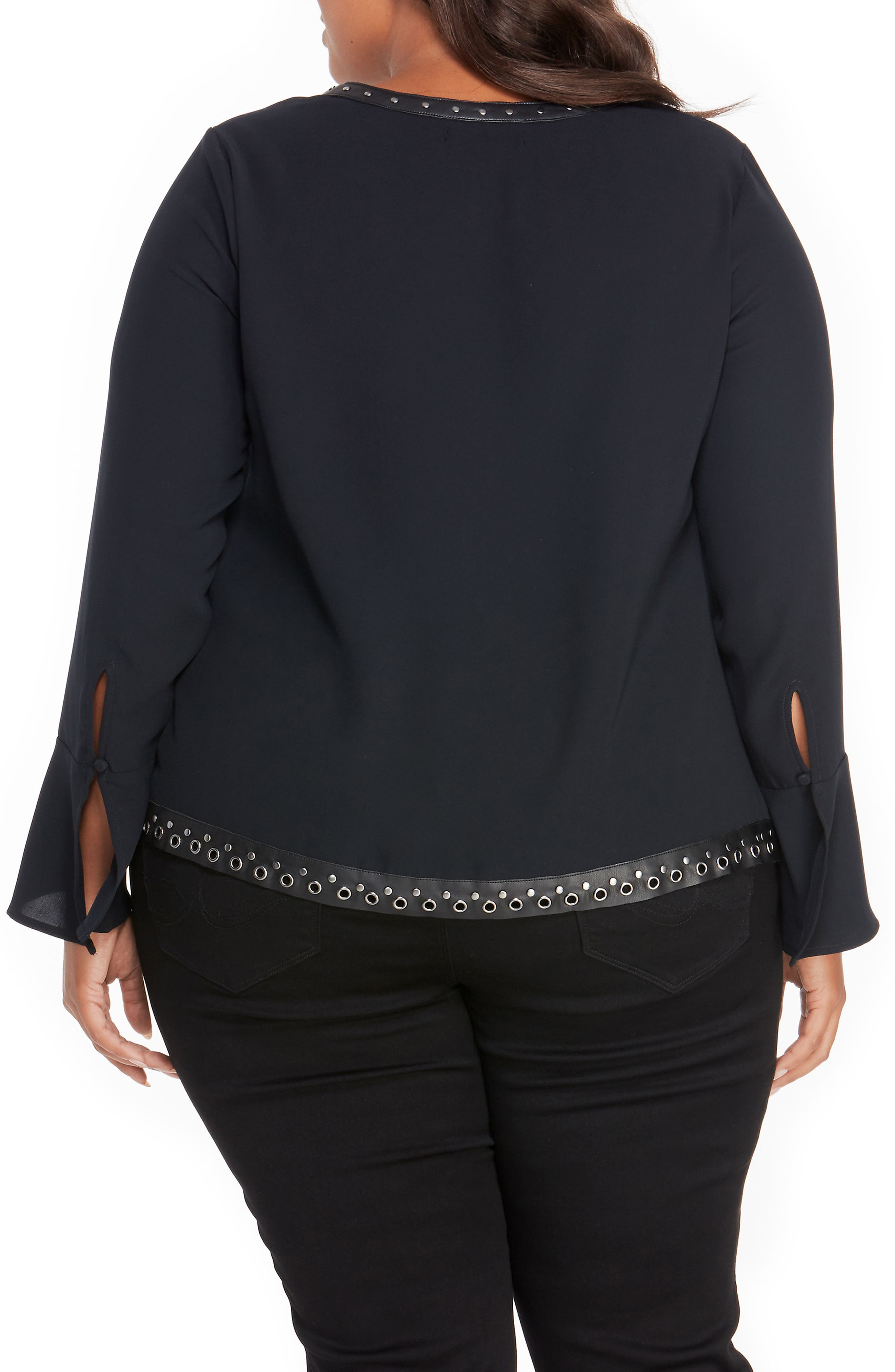 Alternate Image 2  - Rebel Wilson x Angels Studded Faux Leather Trim Top (Plus Size)