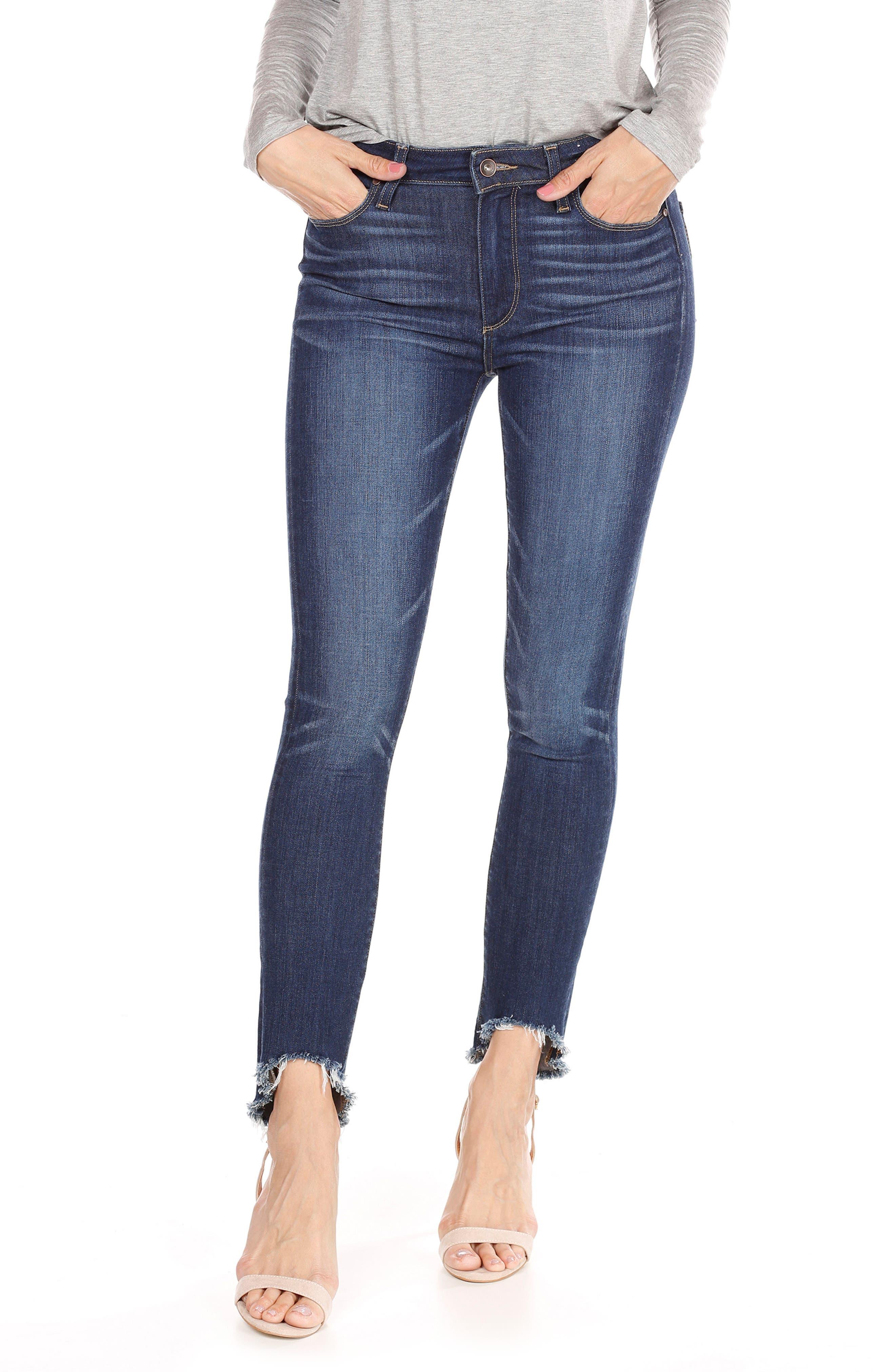 Main Image - PAIGE Transcend Vintage - Hoxton High Waist Ankle Skinny Jeans (Auburn) (Petite)