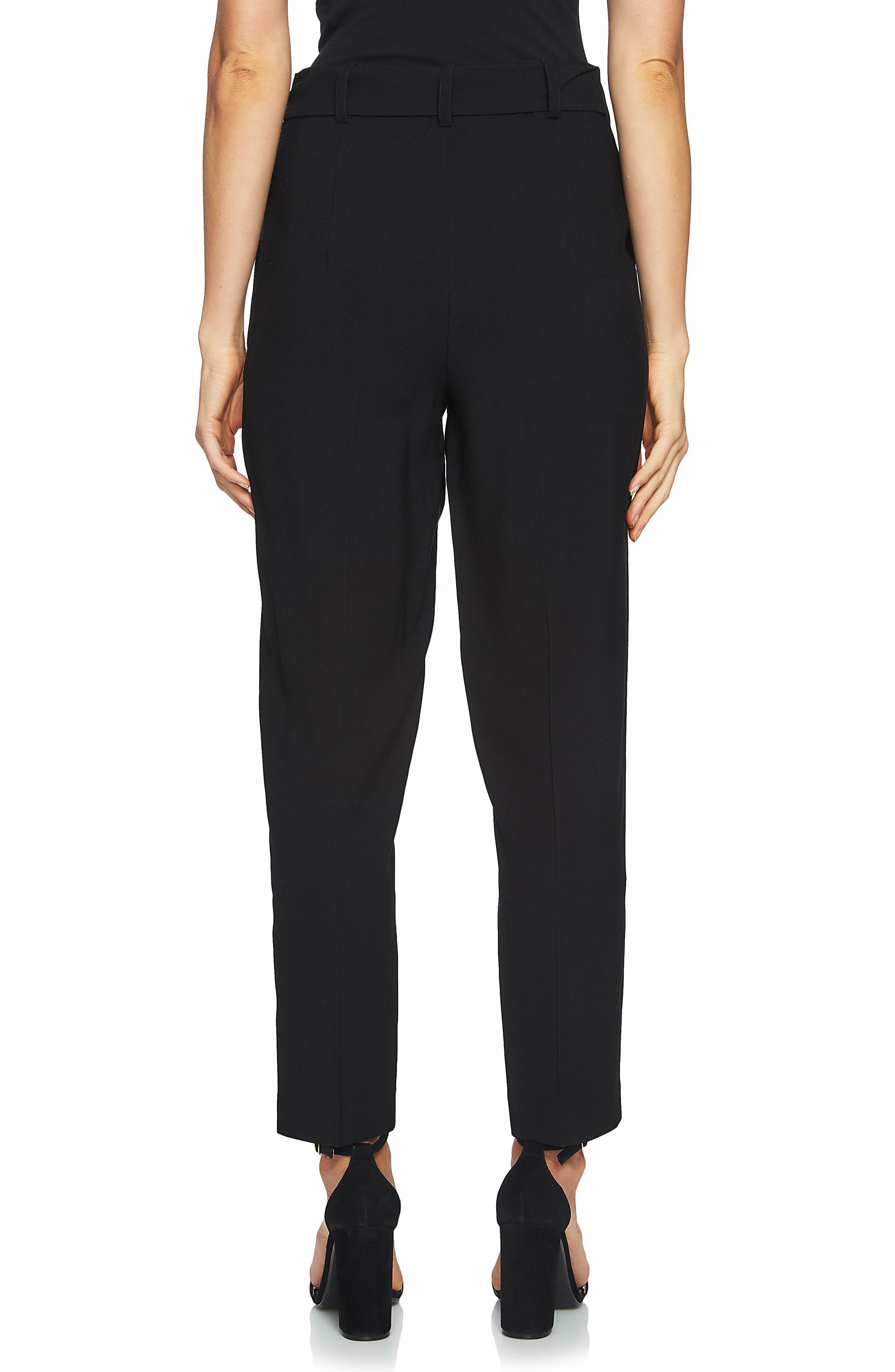 Tie Waist Tapered Trousers,                             Alternate thumbnail 2, color,                             Rich Black