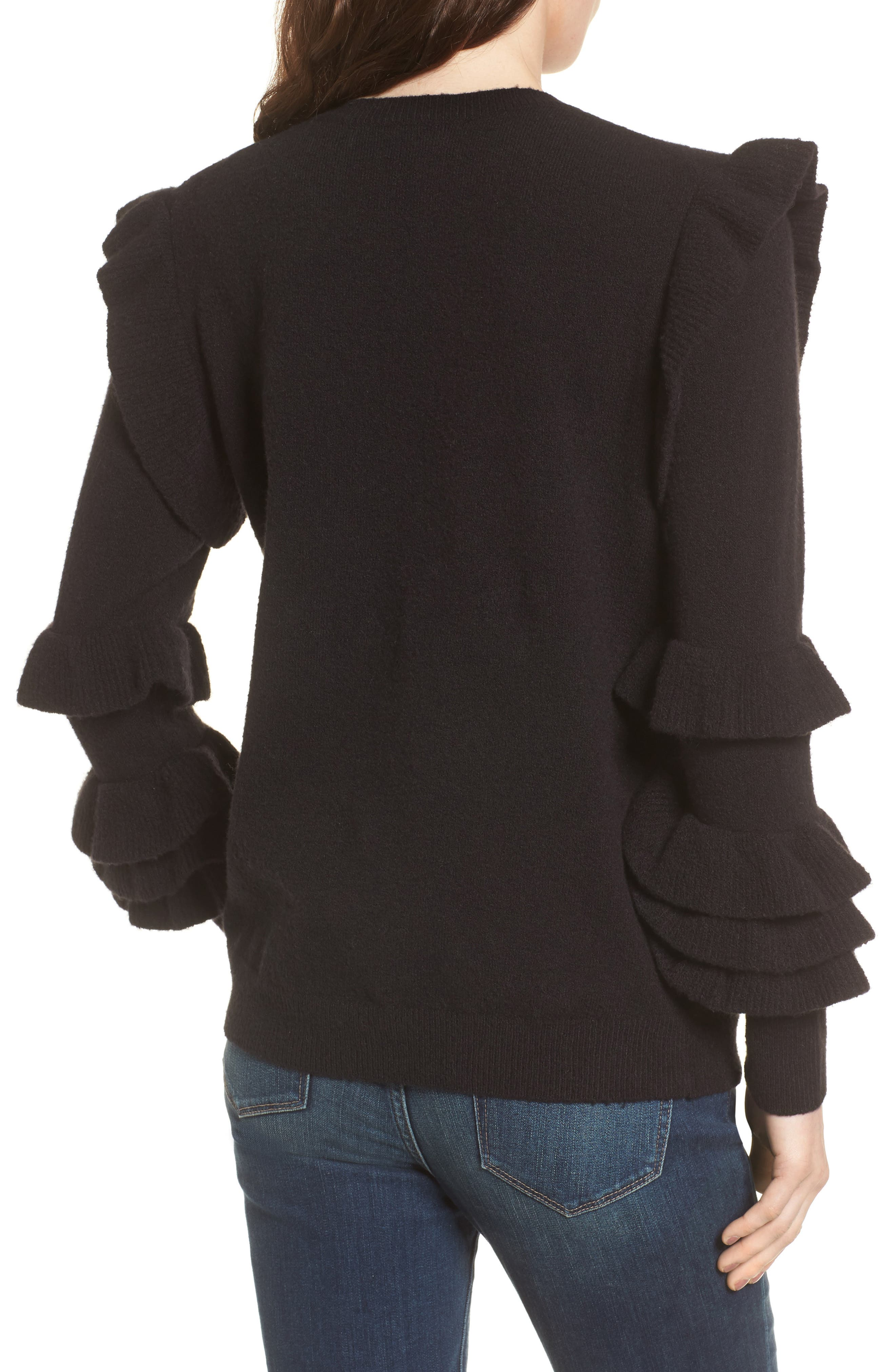 Ruffle Sleeve Sweater,                             Alternate thumbnail 2, color,                             Black
