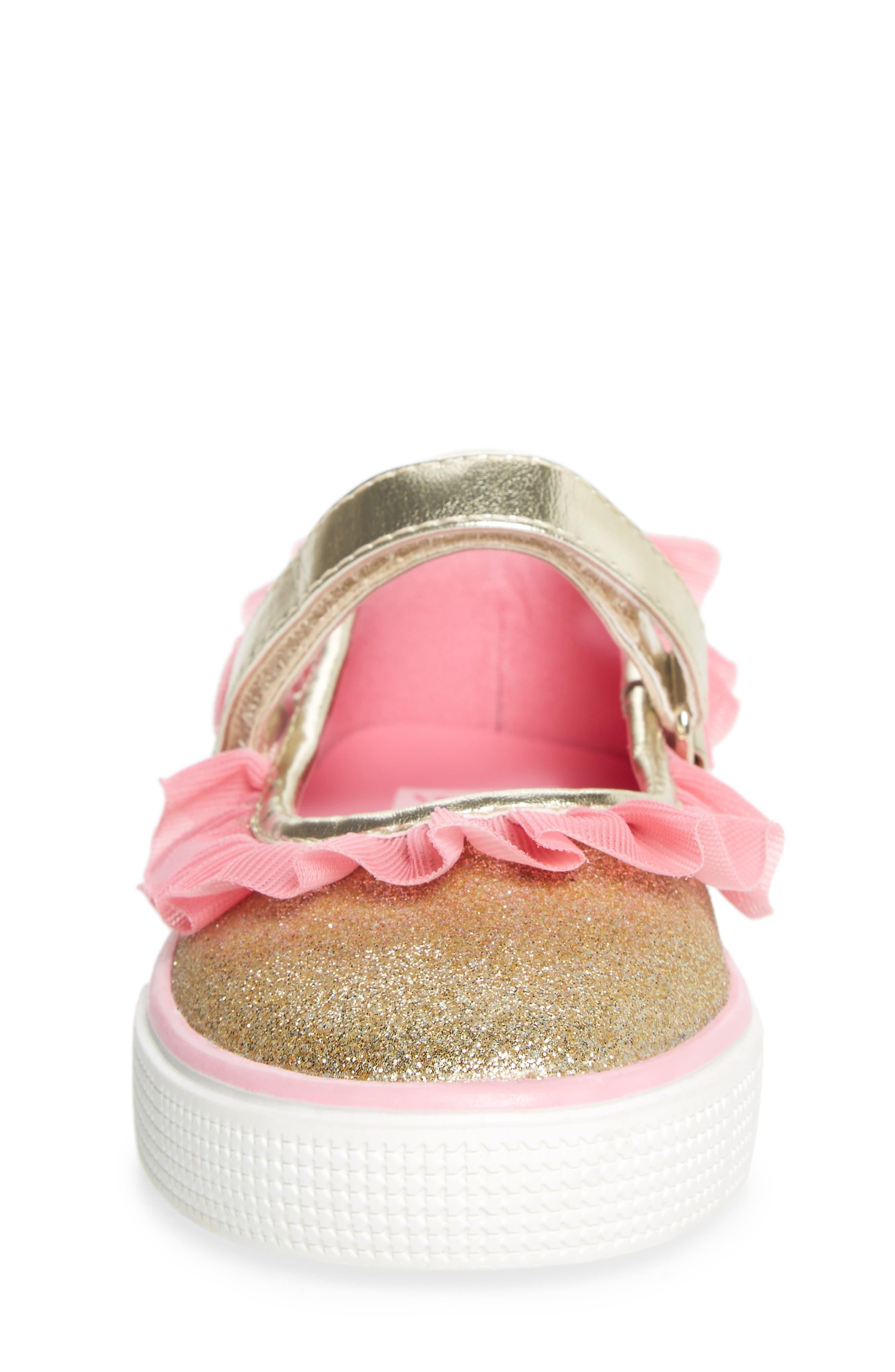 Ashlyn Tulle Mary Jane Sneaker,                             Alternate thumbnail 4, color,                             Gold