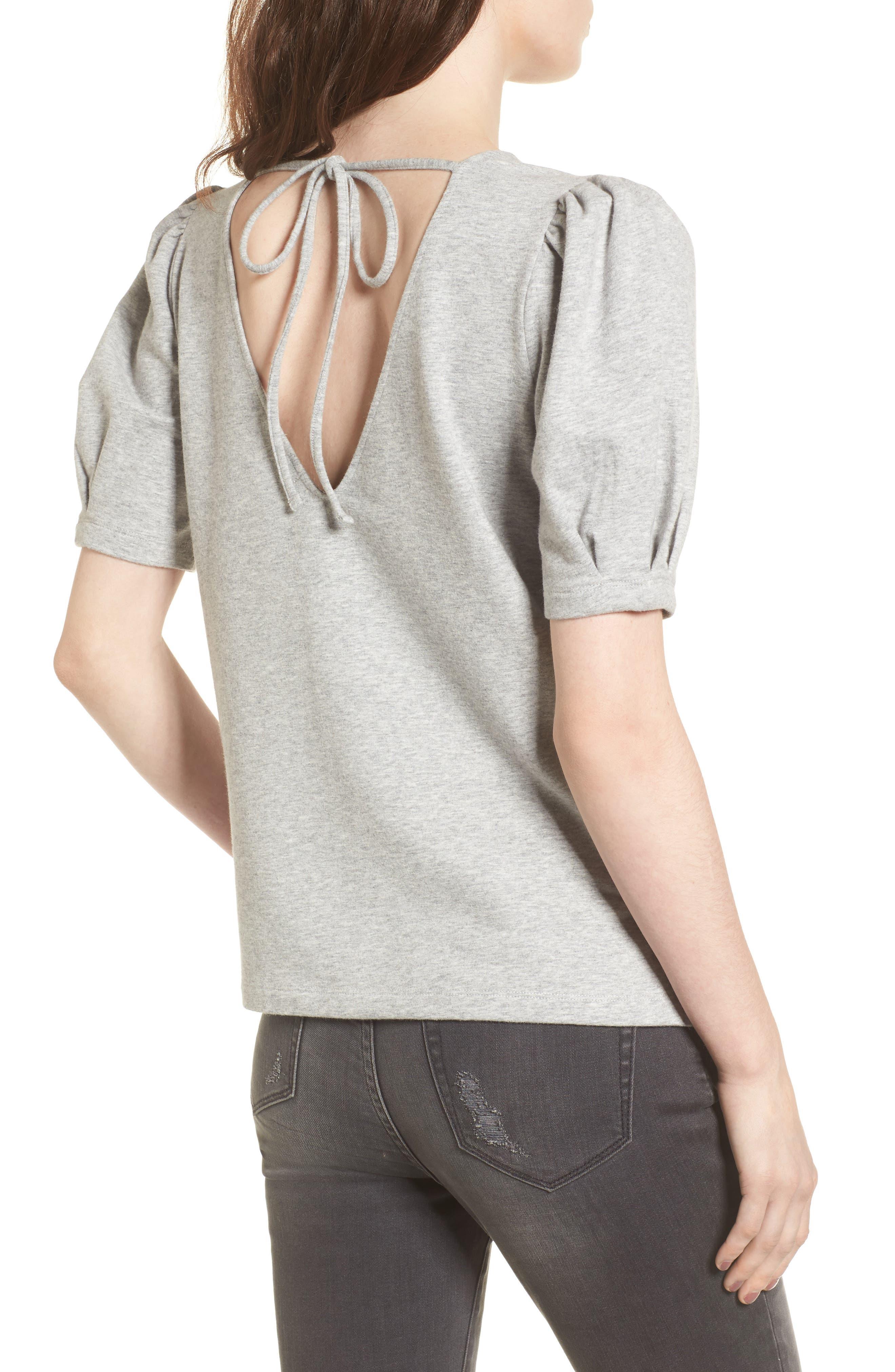 Tie Back Sweatshirt,                             Alternate thumbnail 2, color,                             Grey Heather