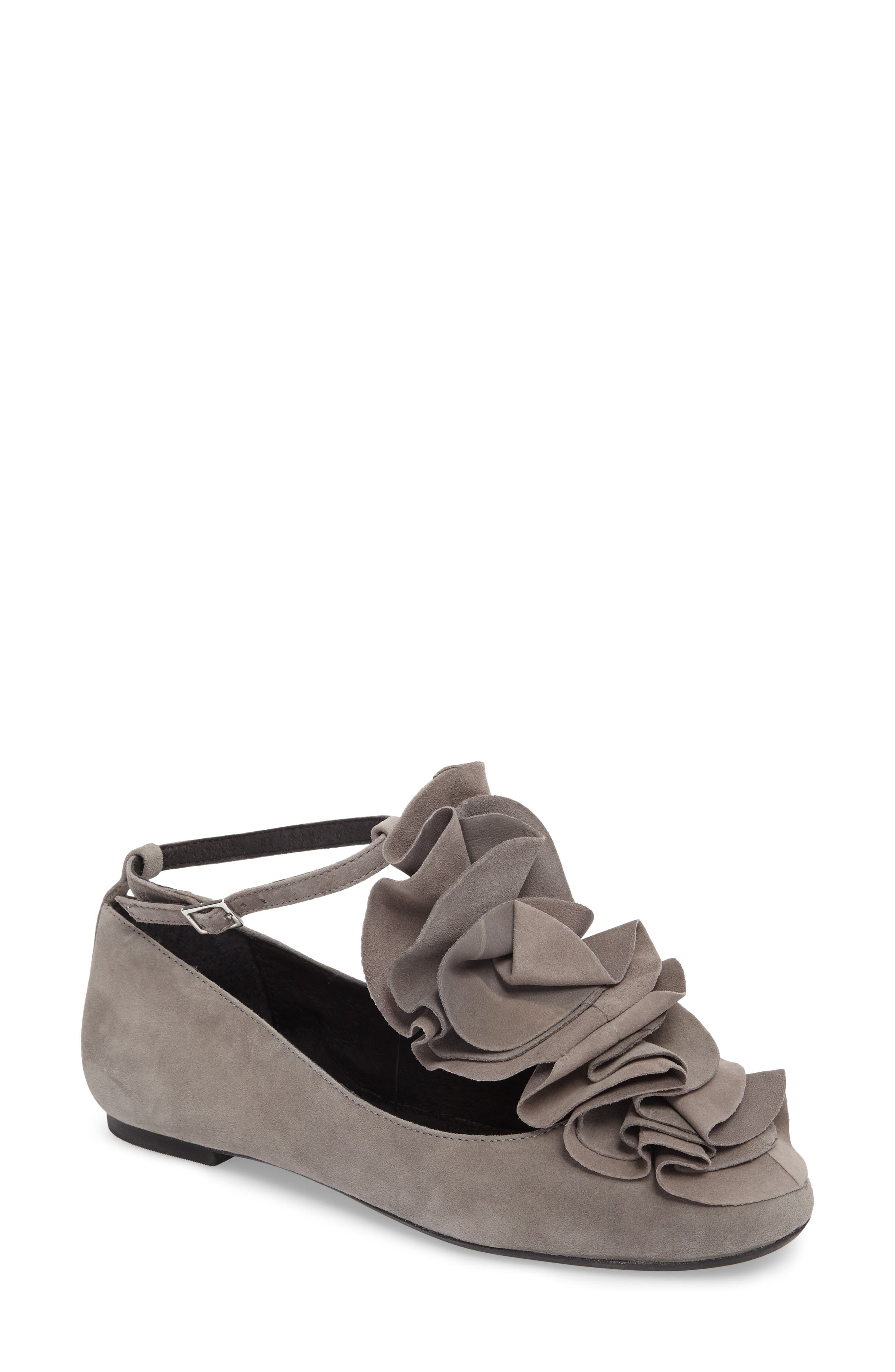 Jenny Ruffle Flat,                         Main,                         color, Gray Suede