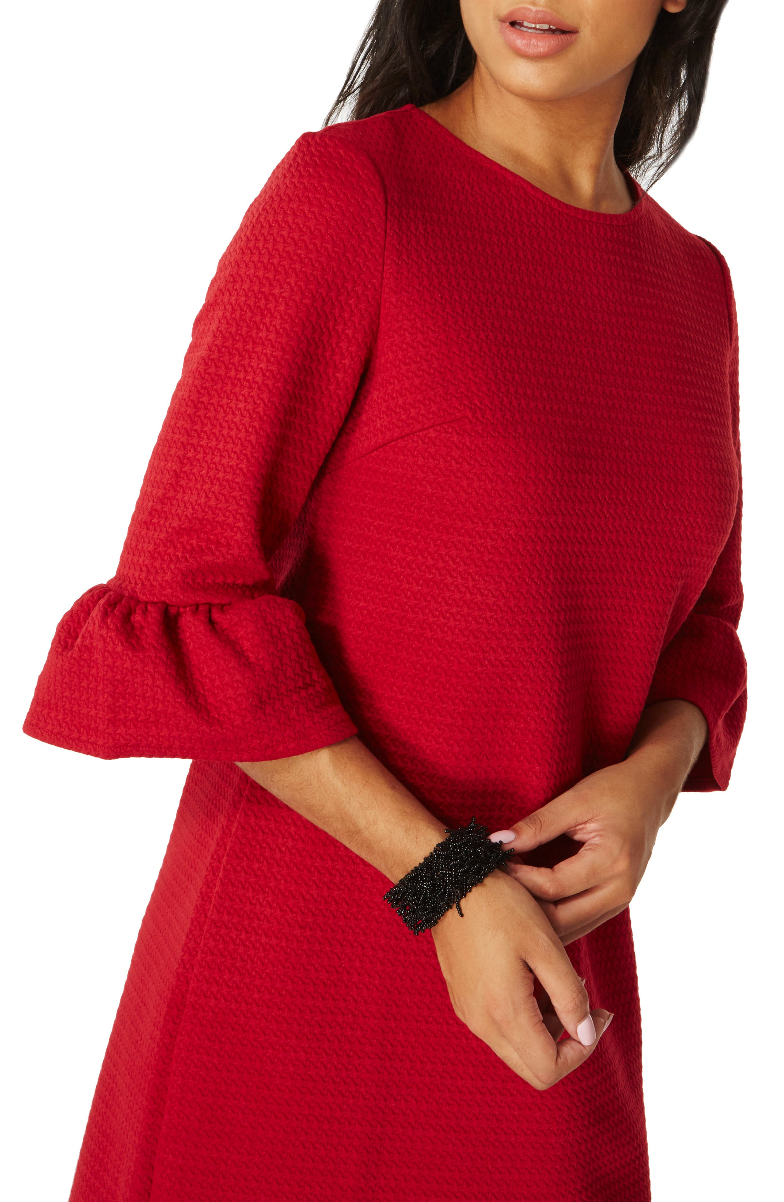 Ruffle Sleeve Shift Dress,                             Alternate thumbnail 4, color,                             Red