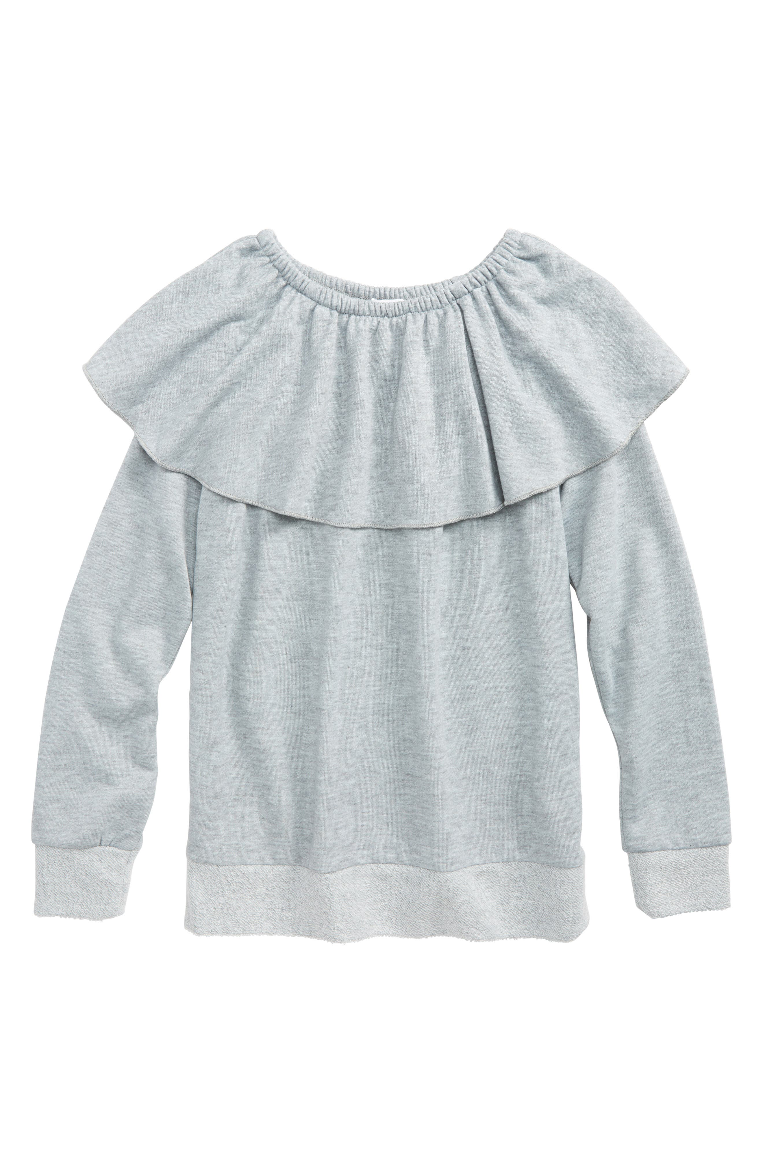 Ruffle French Terry Sweatshirt,                             Main thumbnail 1, color,                             Dark Grey Heather