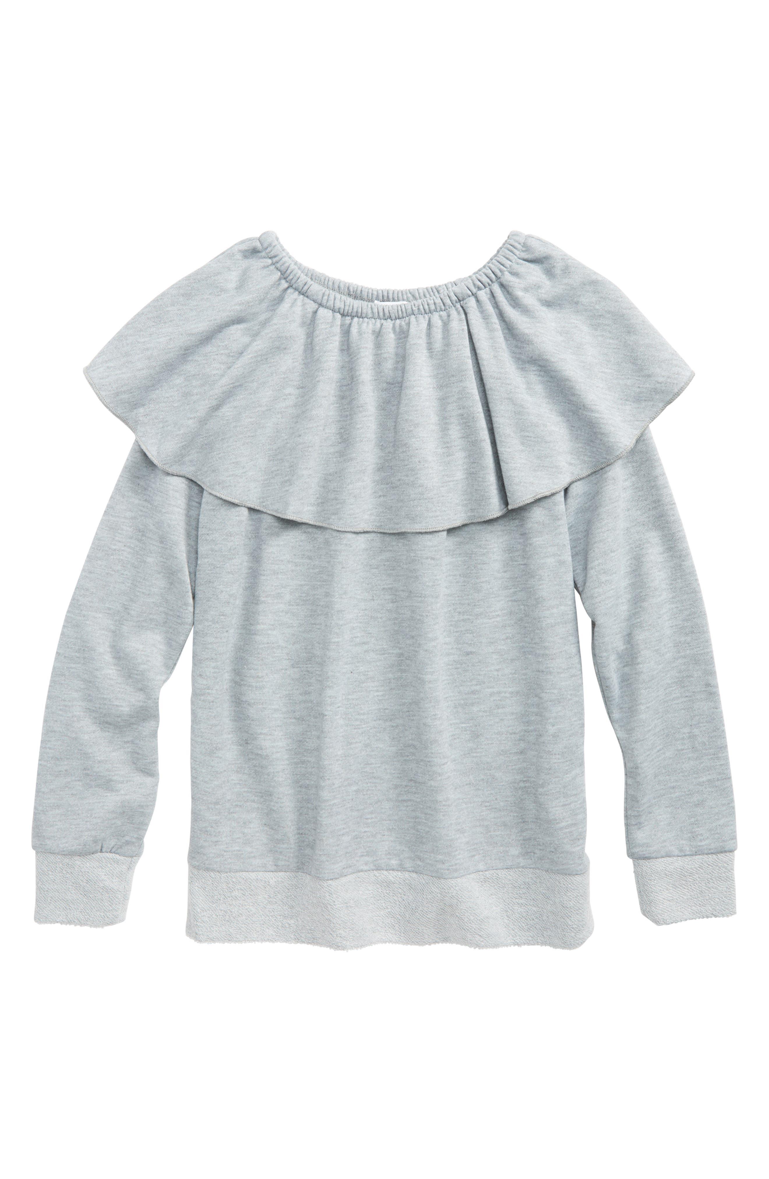 Main Image - Splendid Ruffle French Terry Sweatshirt (Big Girls)