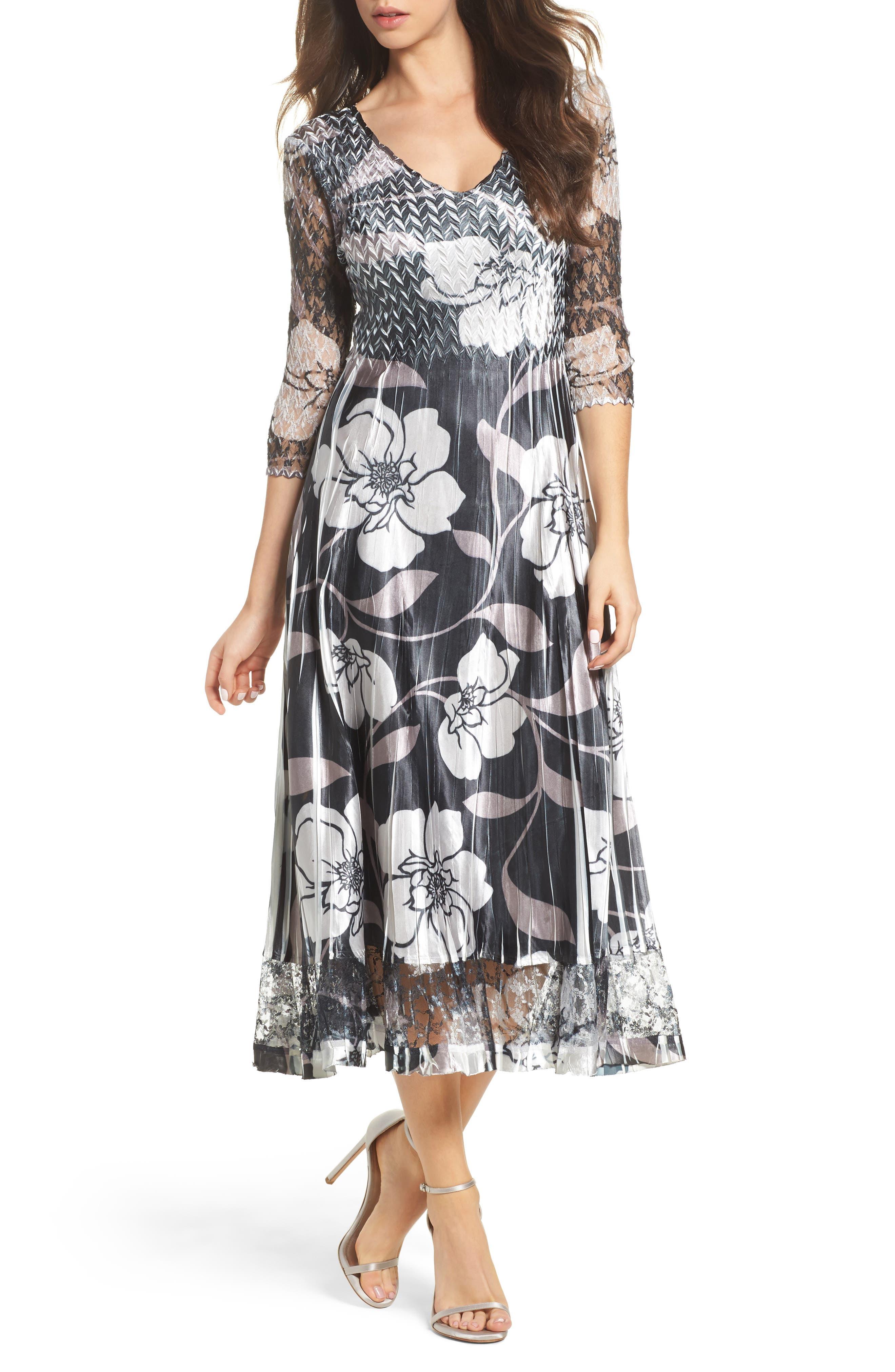 Floral A-Line Dress,                         Main,                         color, Phantom Moonflower