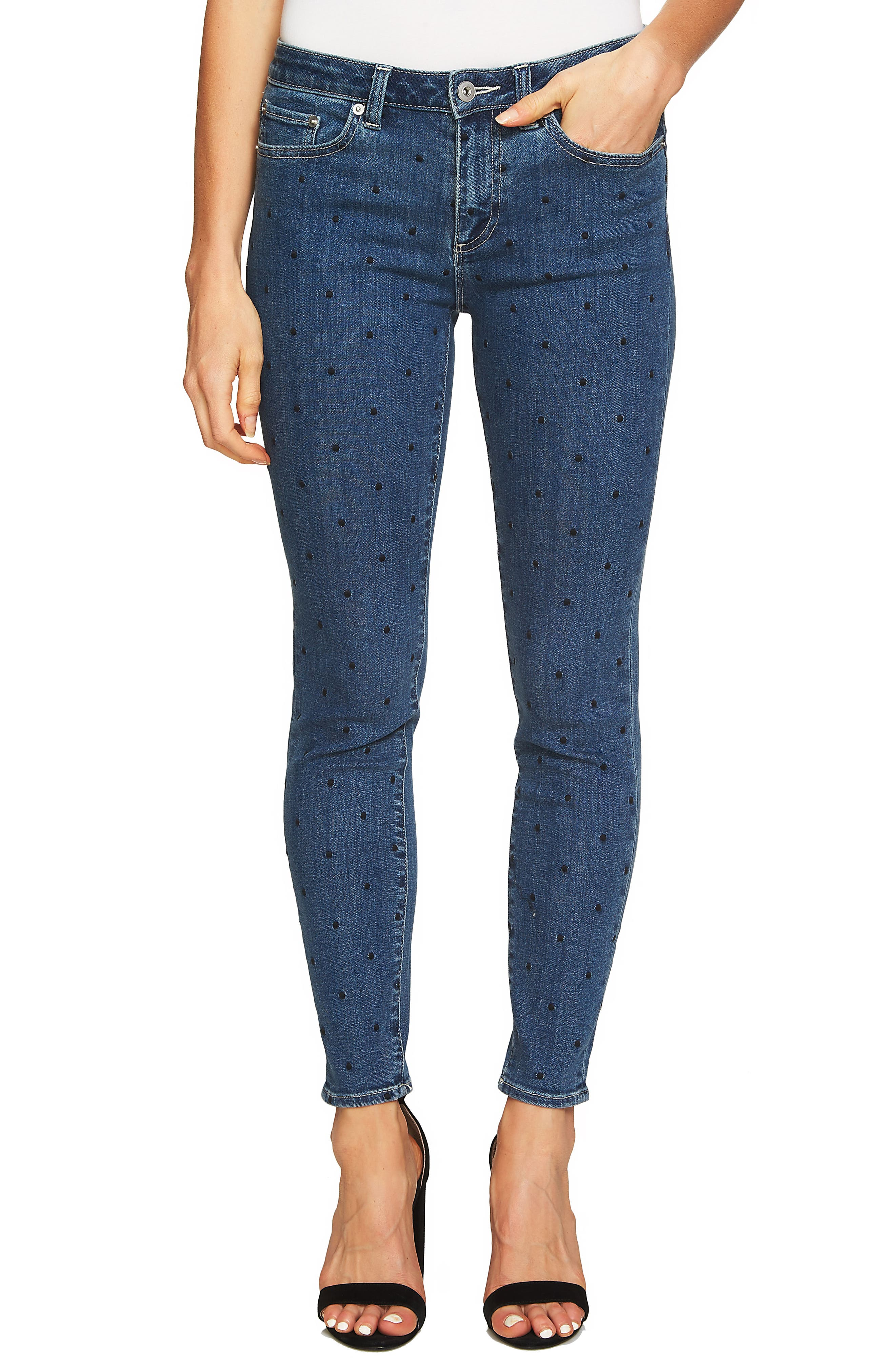 Polka Dot Skinny Jeans,                             Main thumbnail 1, color,                             Blue