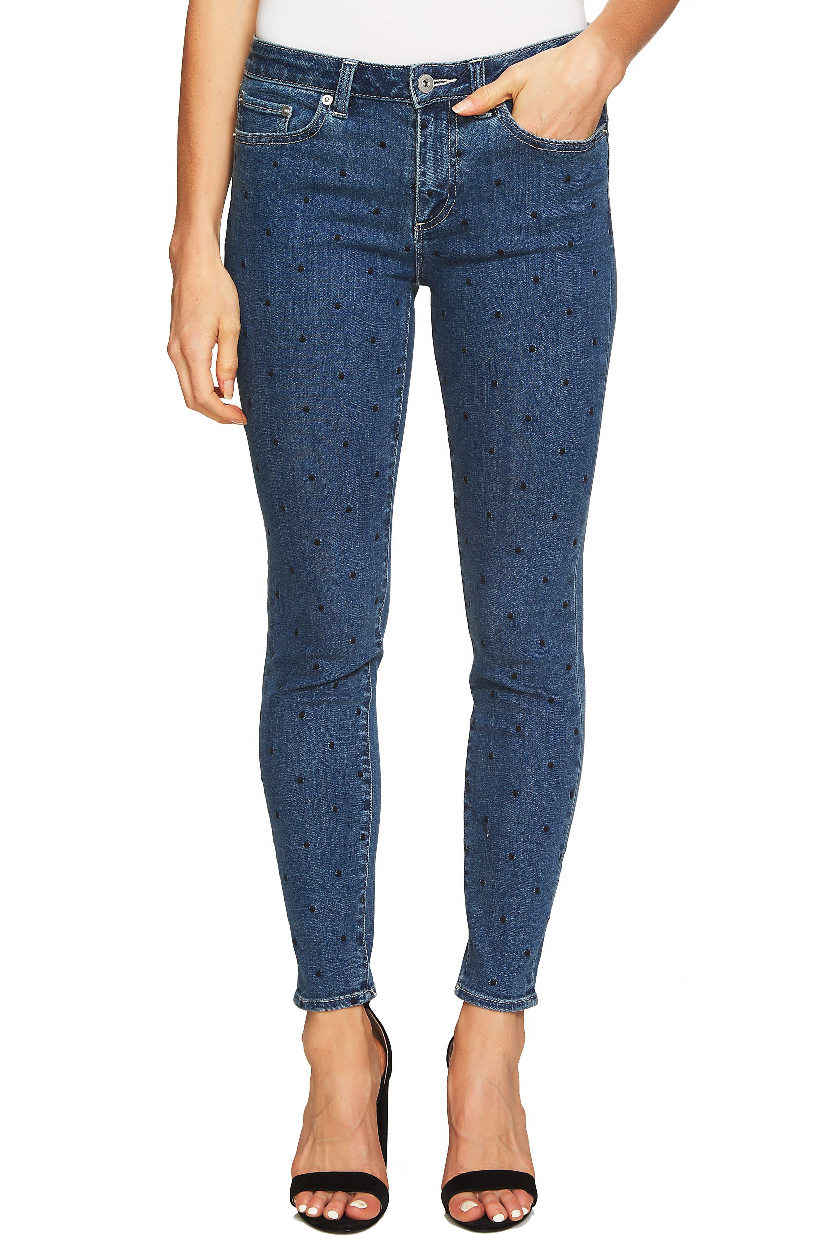 Polka Dot Skinny Jeans,                         Main,                         color, Blue