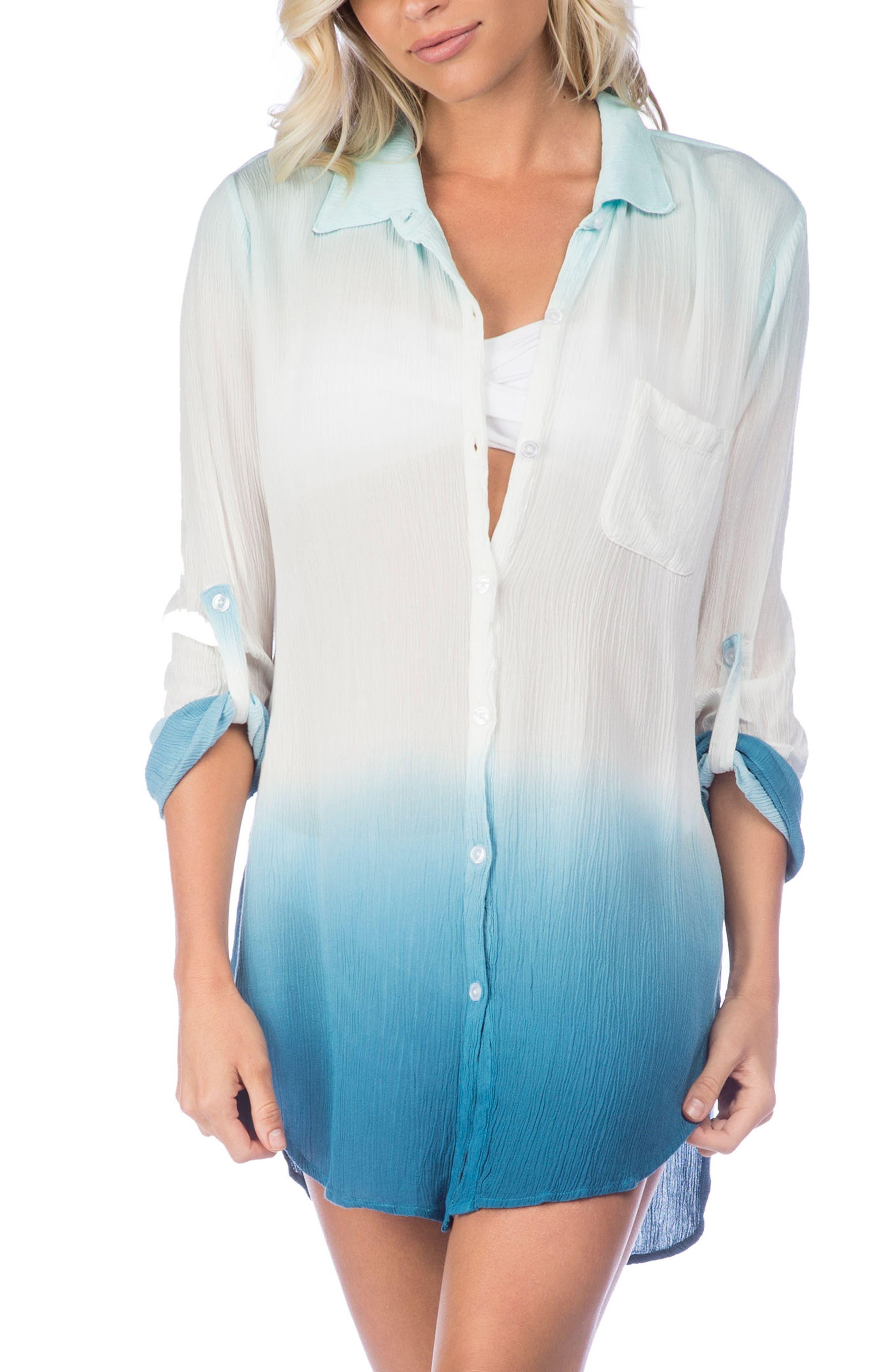 Big Sur Dip Dye Cover-Up Boyfriend Shirt,                         Main,                         color, Blue
