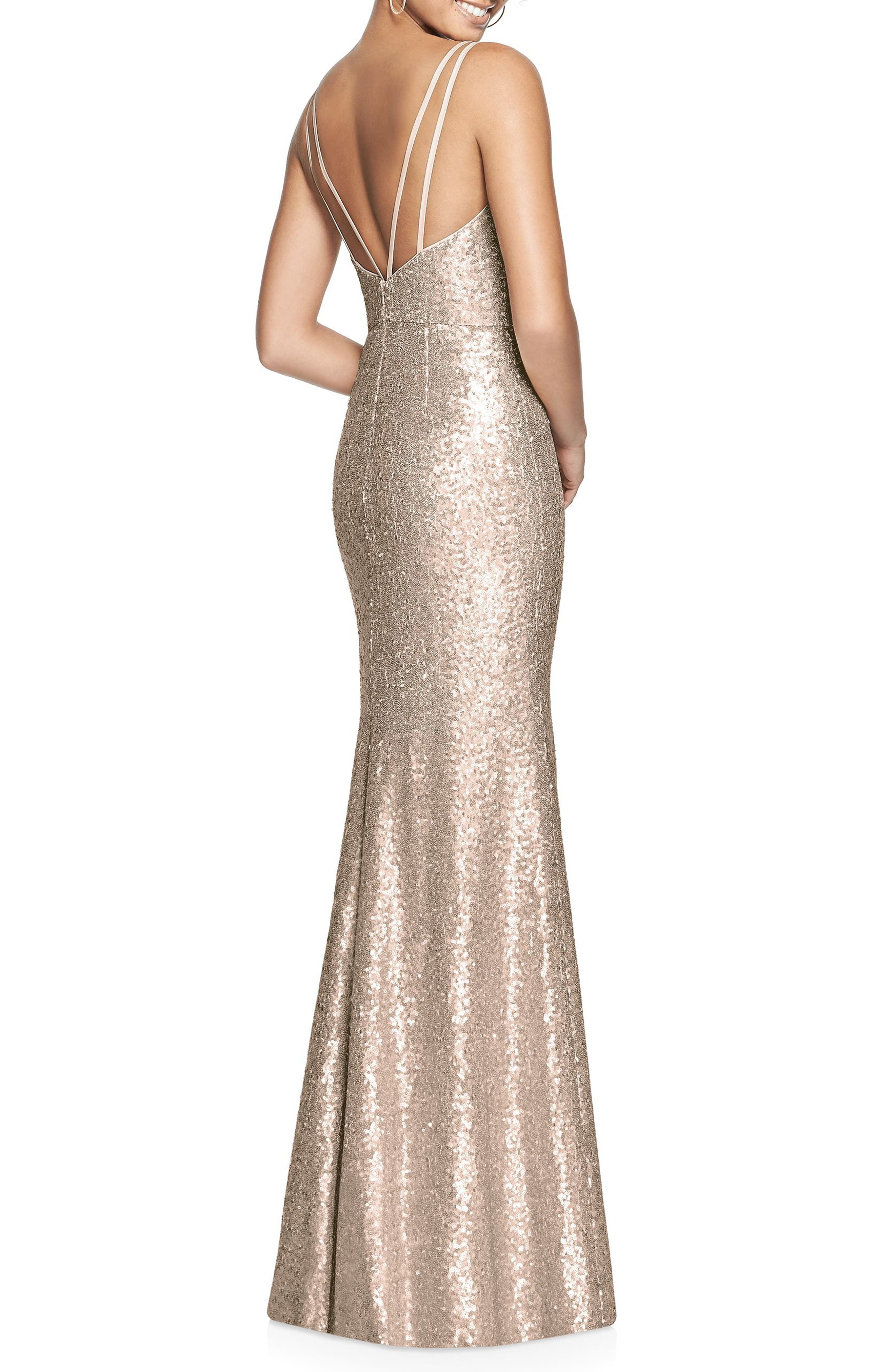 Bateau Neck Sequin Gown,                             Alternate thumbnail 2, color,                             Rose Gold