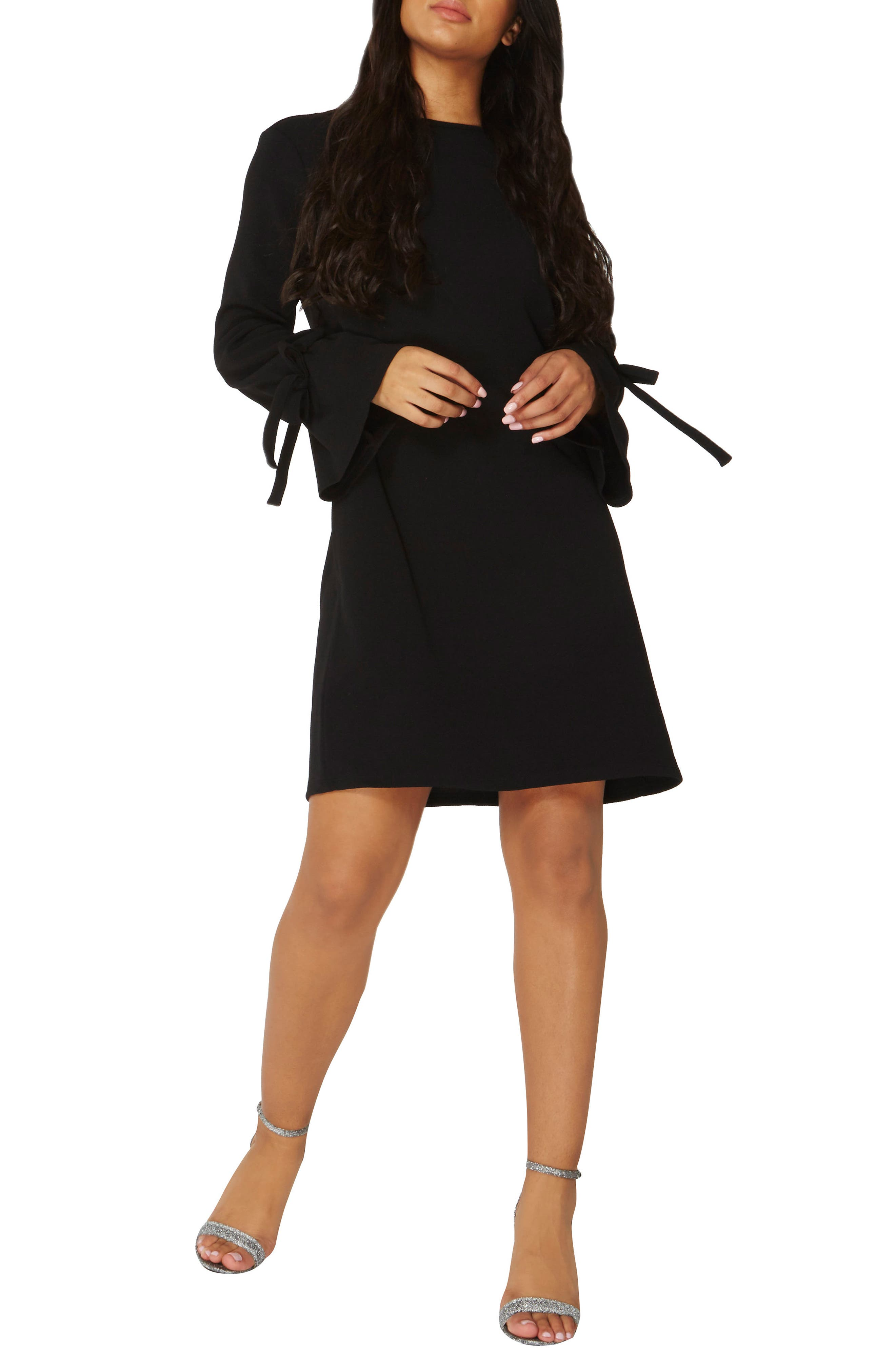 Tie Sleeve Shift Dress,                         Main,                         color, Black